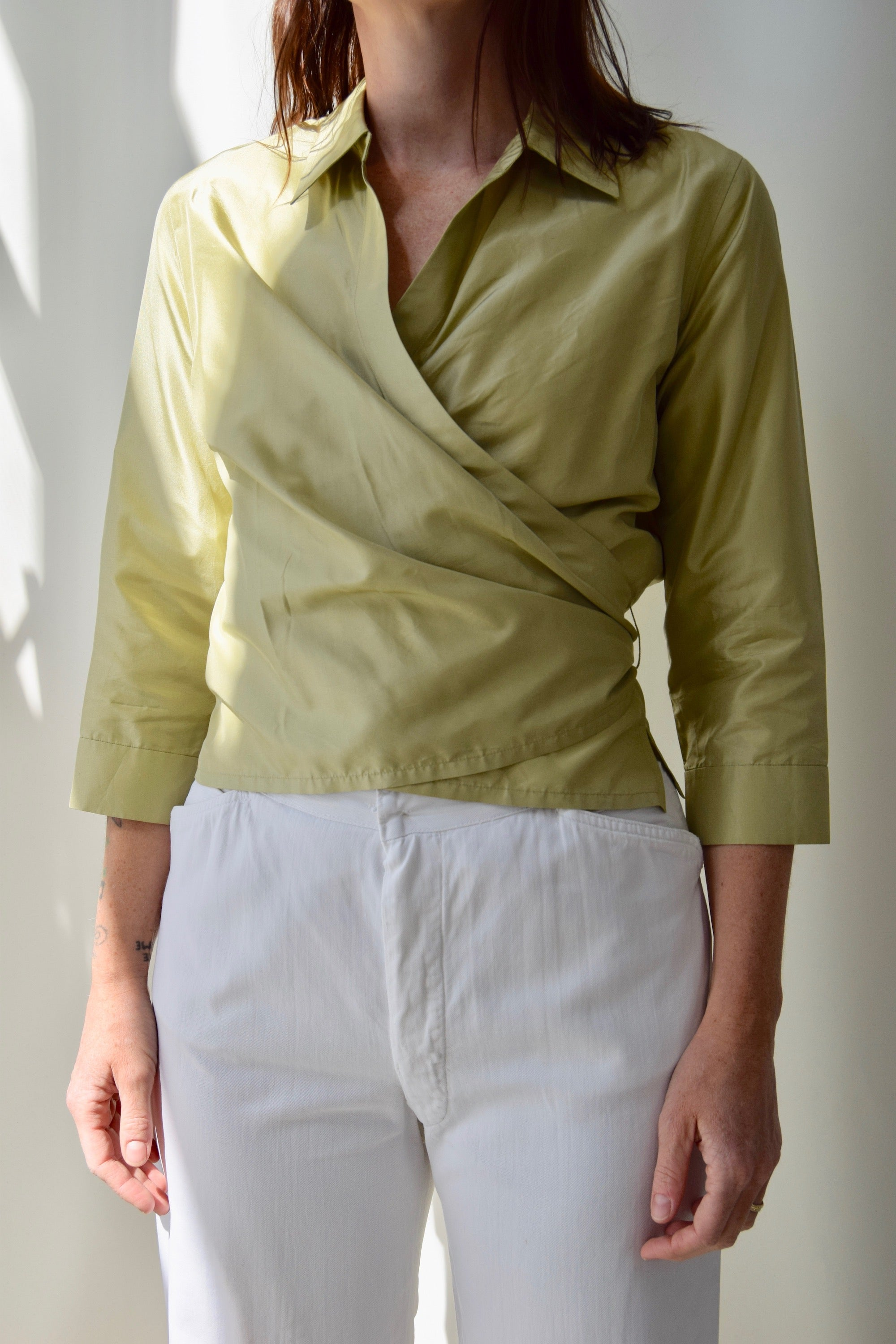 Metallic Chartreuse Wrap Top