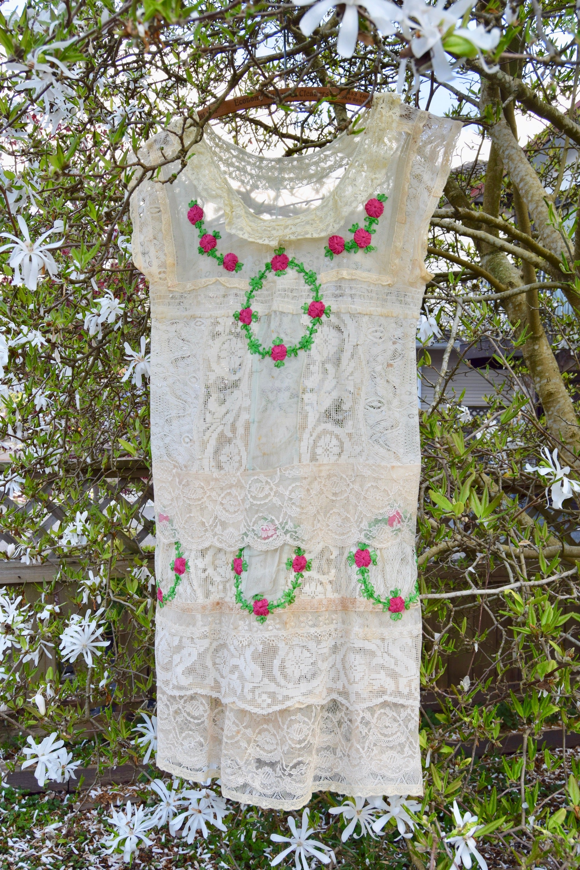 1920's Vintage Silk And Lace Embroidered Dress