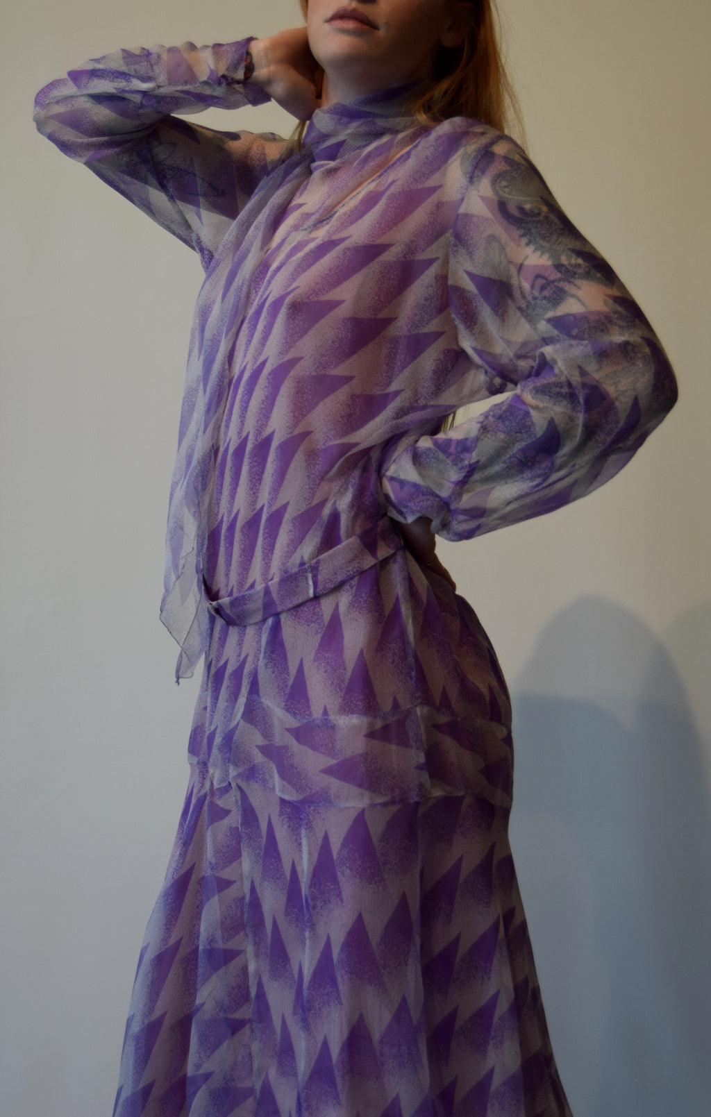 Vintage 1920's Art Deco Purple Patterned Silk Dress