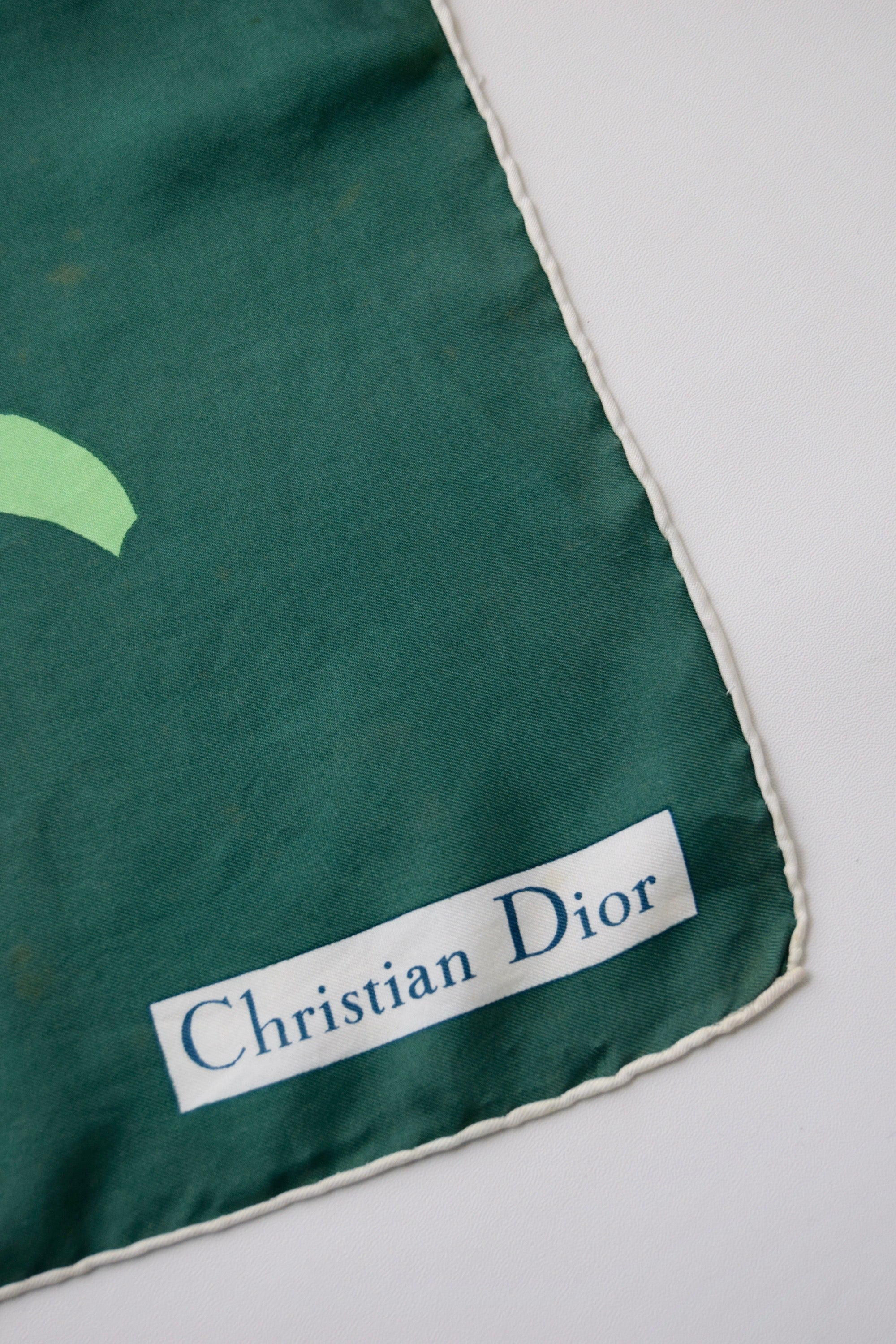 Vintage Christian Dior Shades of Green Botanical Silk Scarf
