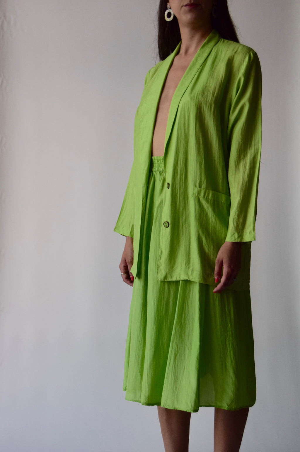 Vintage Silk Slime Green 2 Piece Skirt Suit