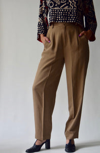 Tawny Brown Silk Blend Trousers