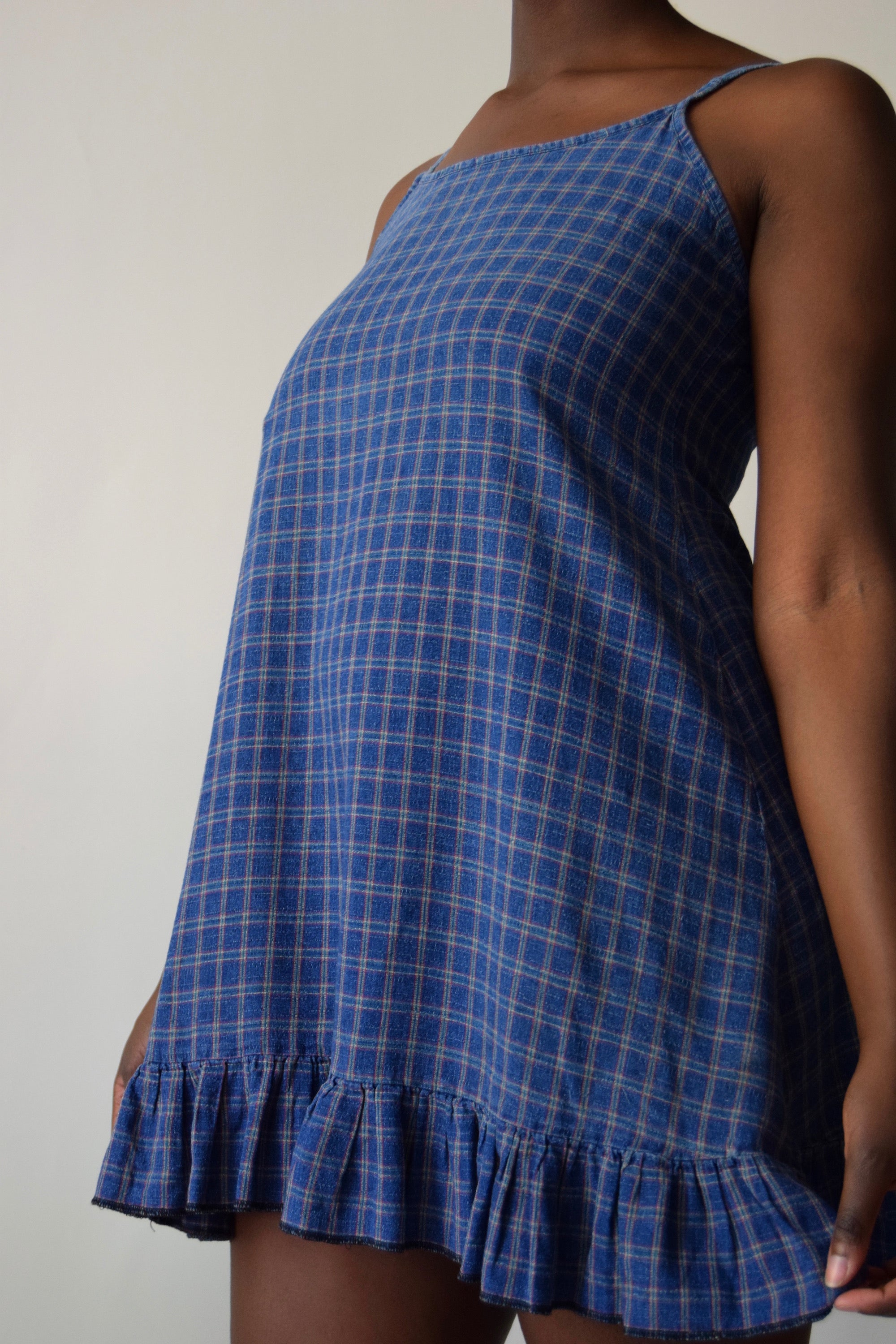 Linen Check Slip Dress