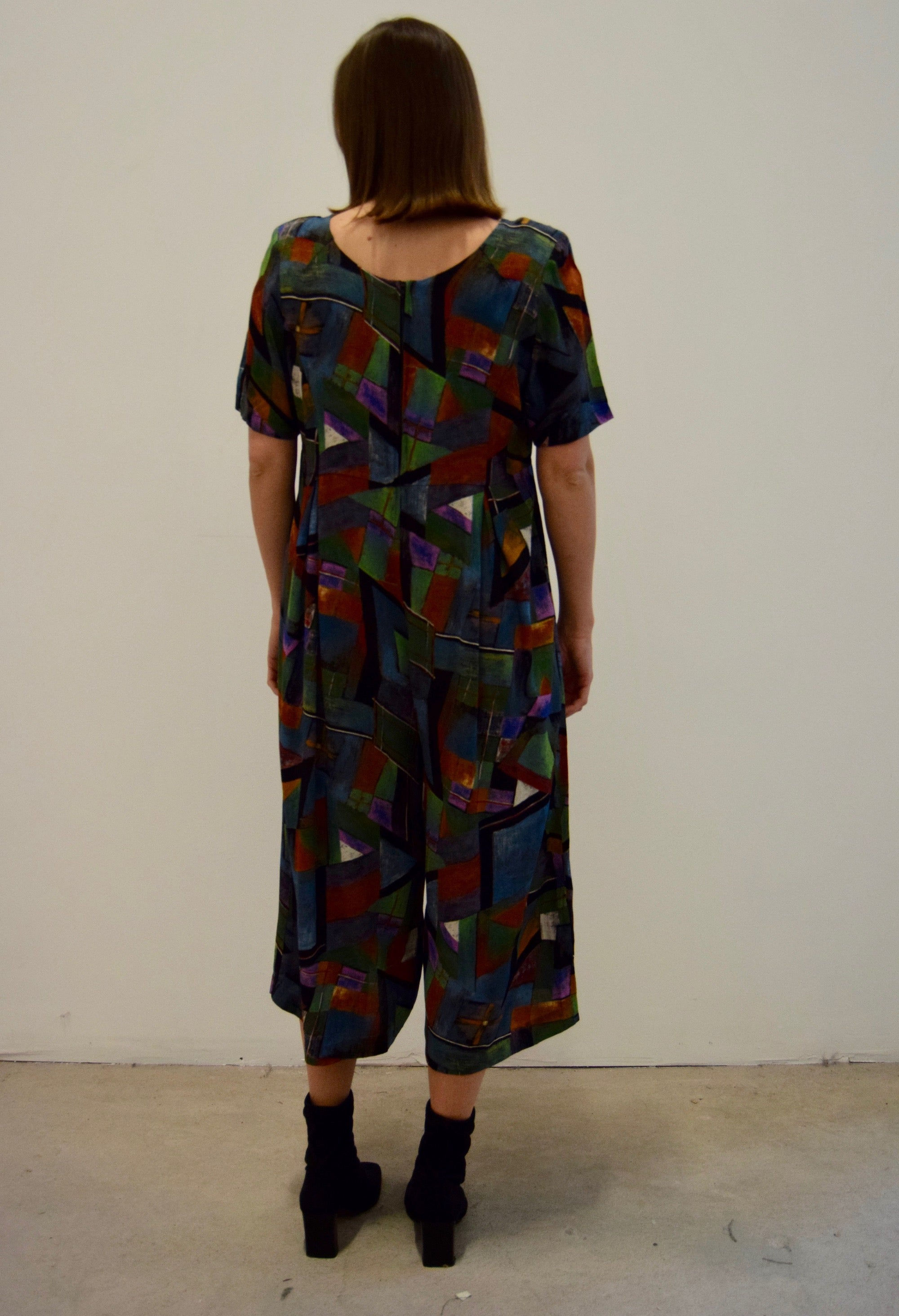 Abstract Printed Cropped Jumpsuit