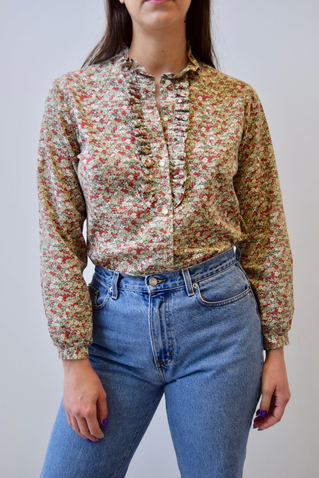 Earth Tone Floral Ruffle Bib Blouse FREE SHIPPING TO THE U.S.