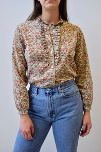 Earth Tone Floral Ruffle Bib Blouse