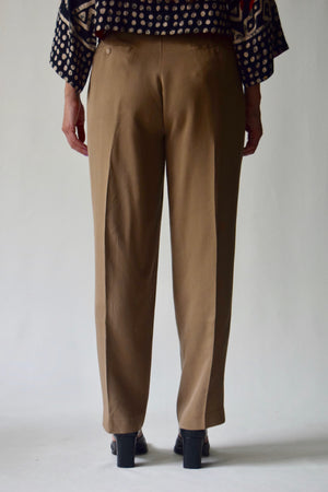 Tawny Brown Silk Blend Trousers FREE SHIPPING TO THE U.S.