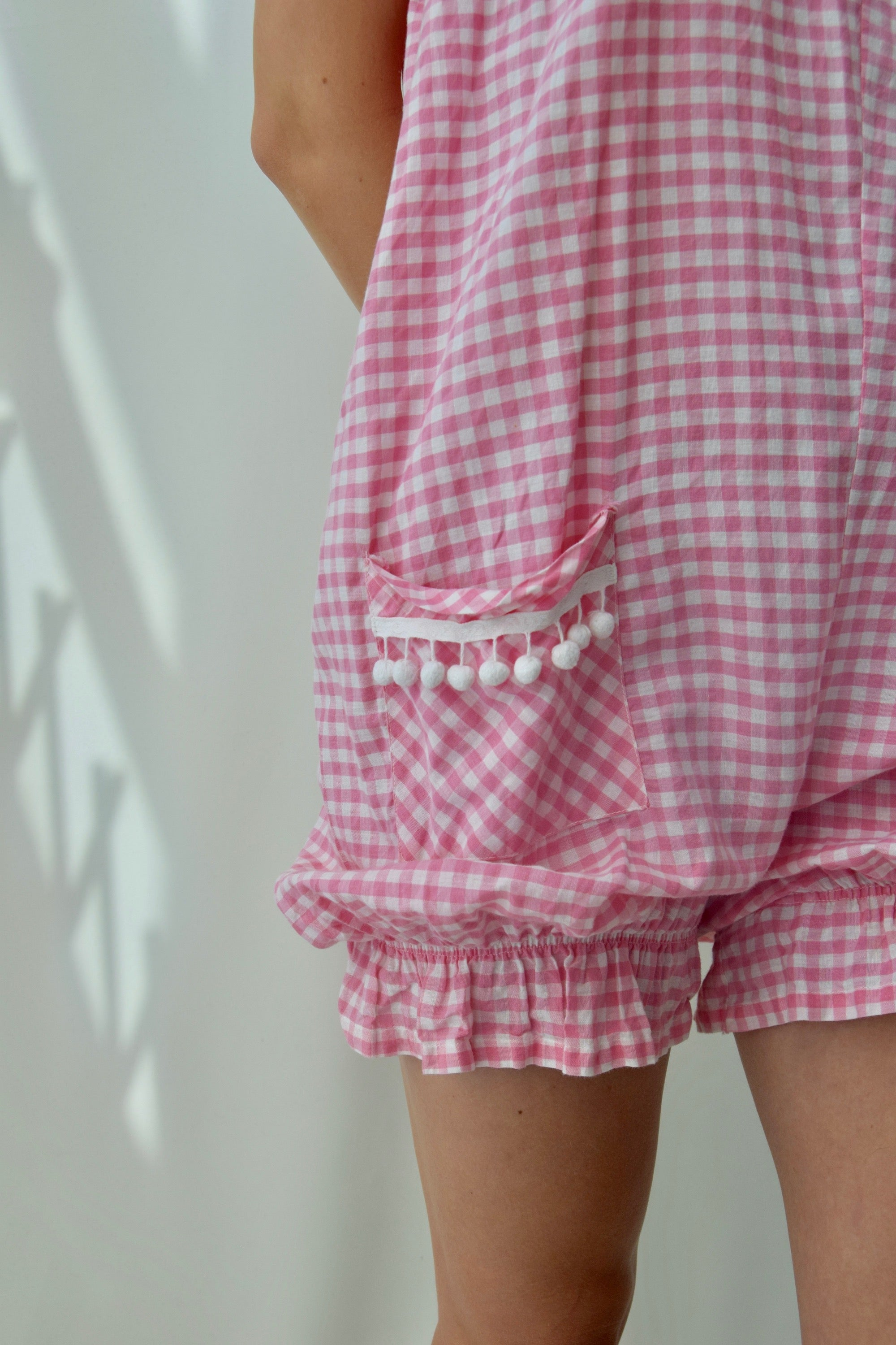 Pink Gingham Beach Romper