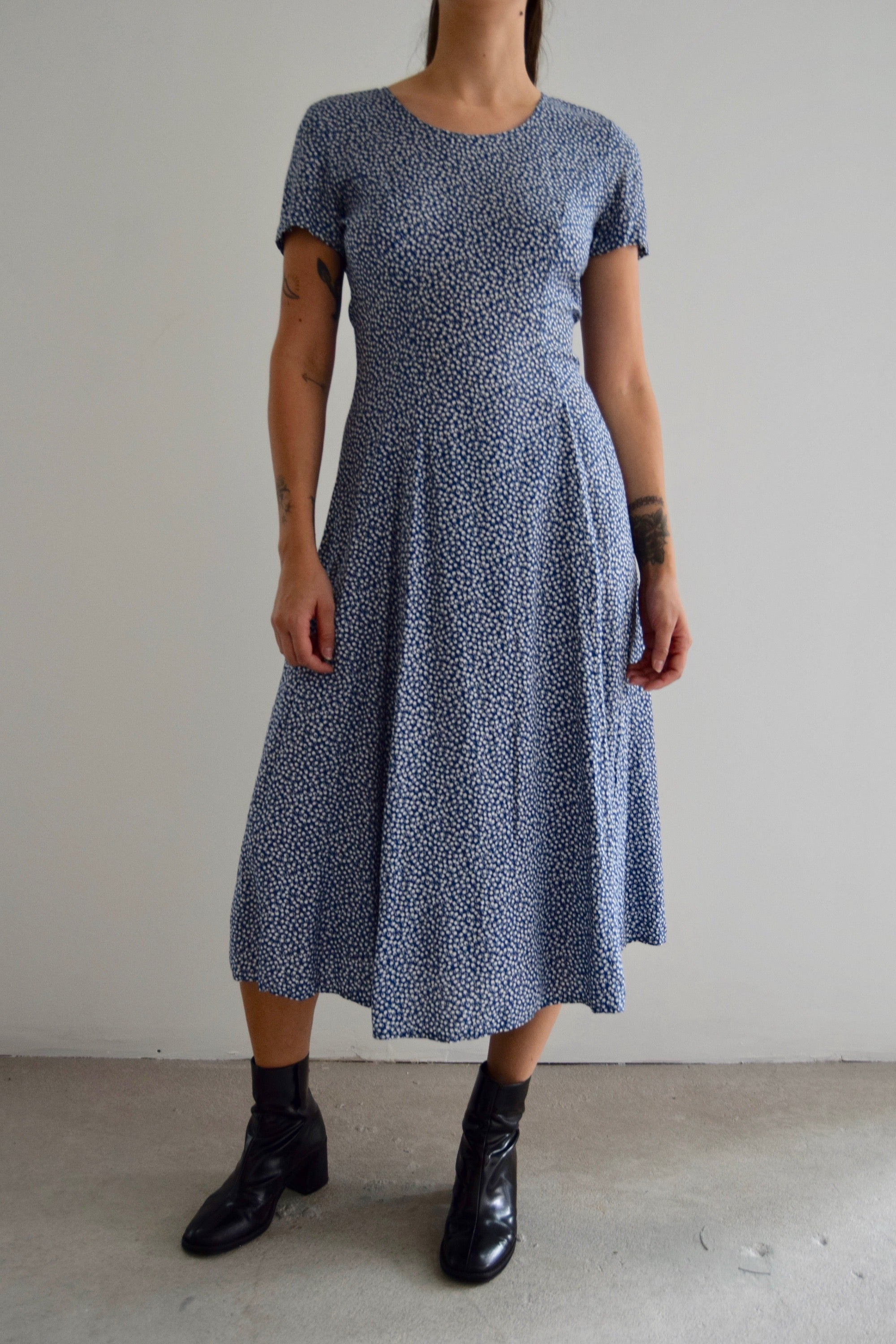 Vintage 90's Rampage White & Blue Square Printed Dress