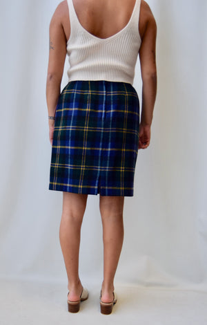 Plaid Wool Faux Wrap Skirt