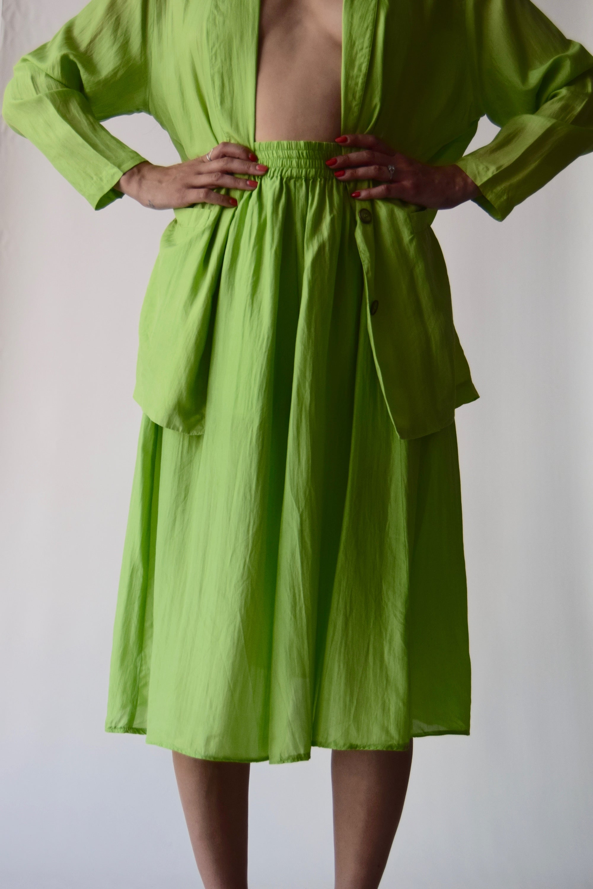 Vintage Silk Slime Green 2 Piece Skirt Suit FREE SHIPPING TO THE U.S.