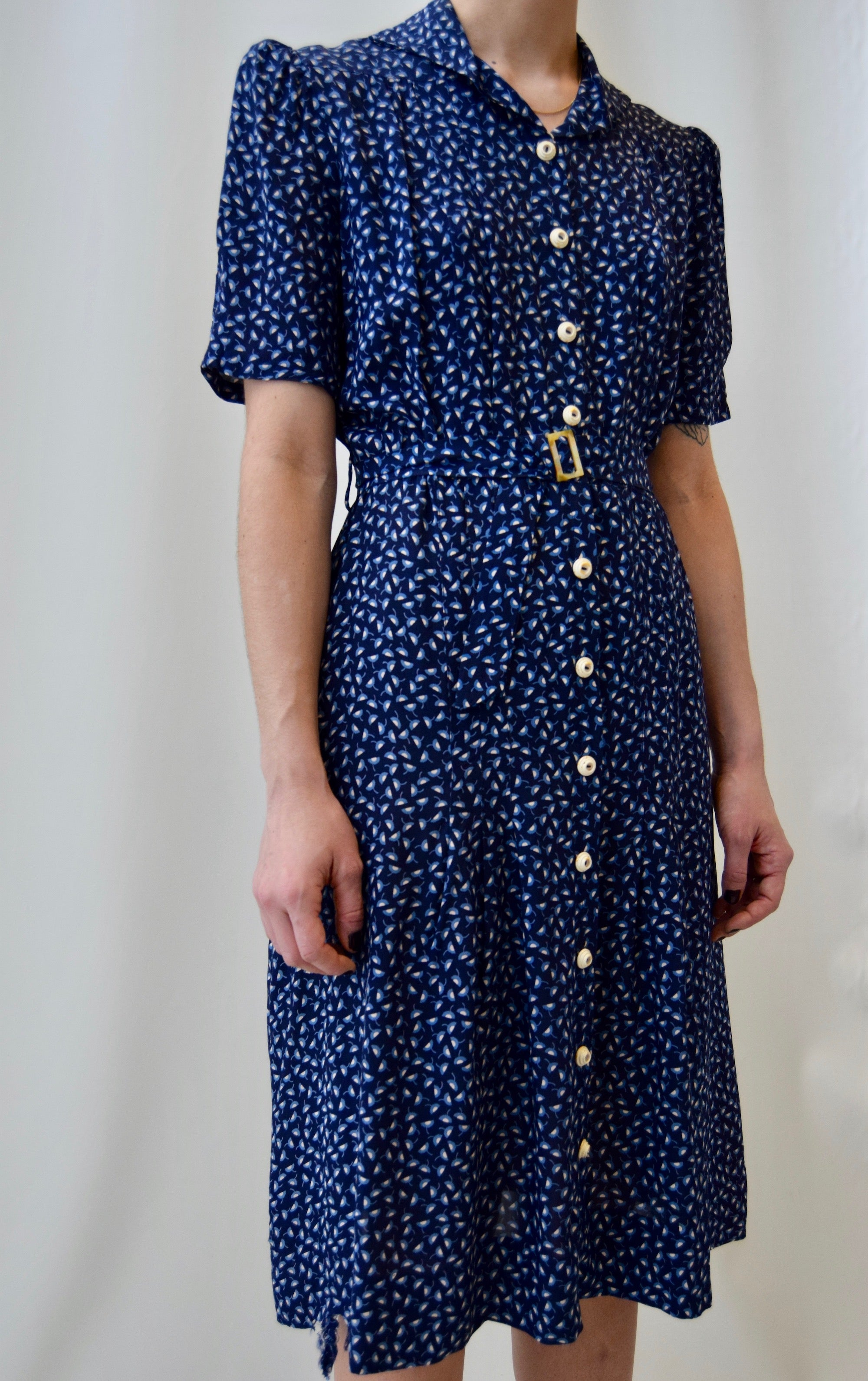 40s Cold Rayon Blue Tones Printed Midi Dress
