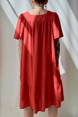 Soft Red Embroidered Dress