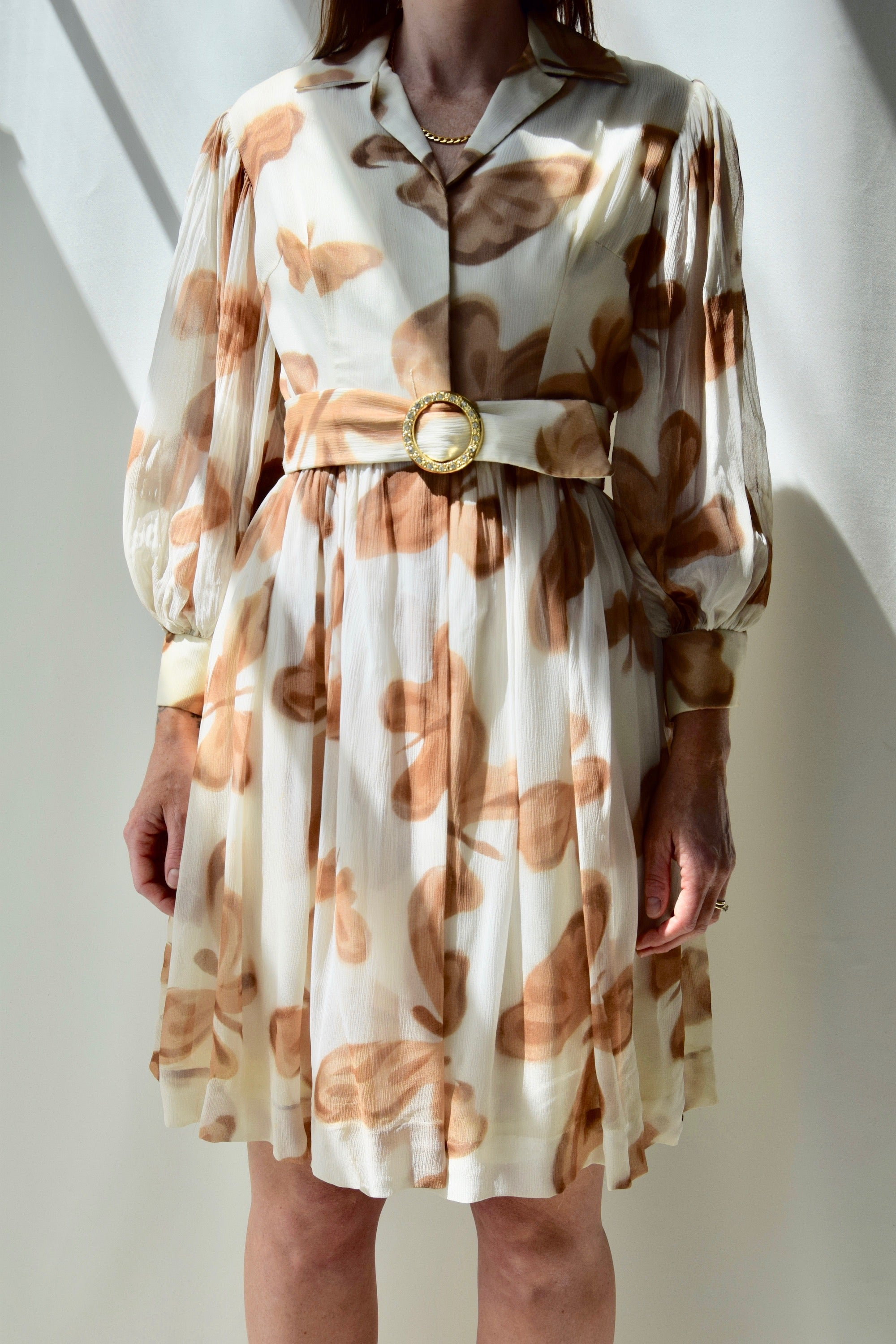 Muted Butterfly Puff Sleeve Dress