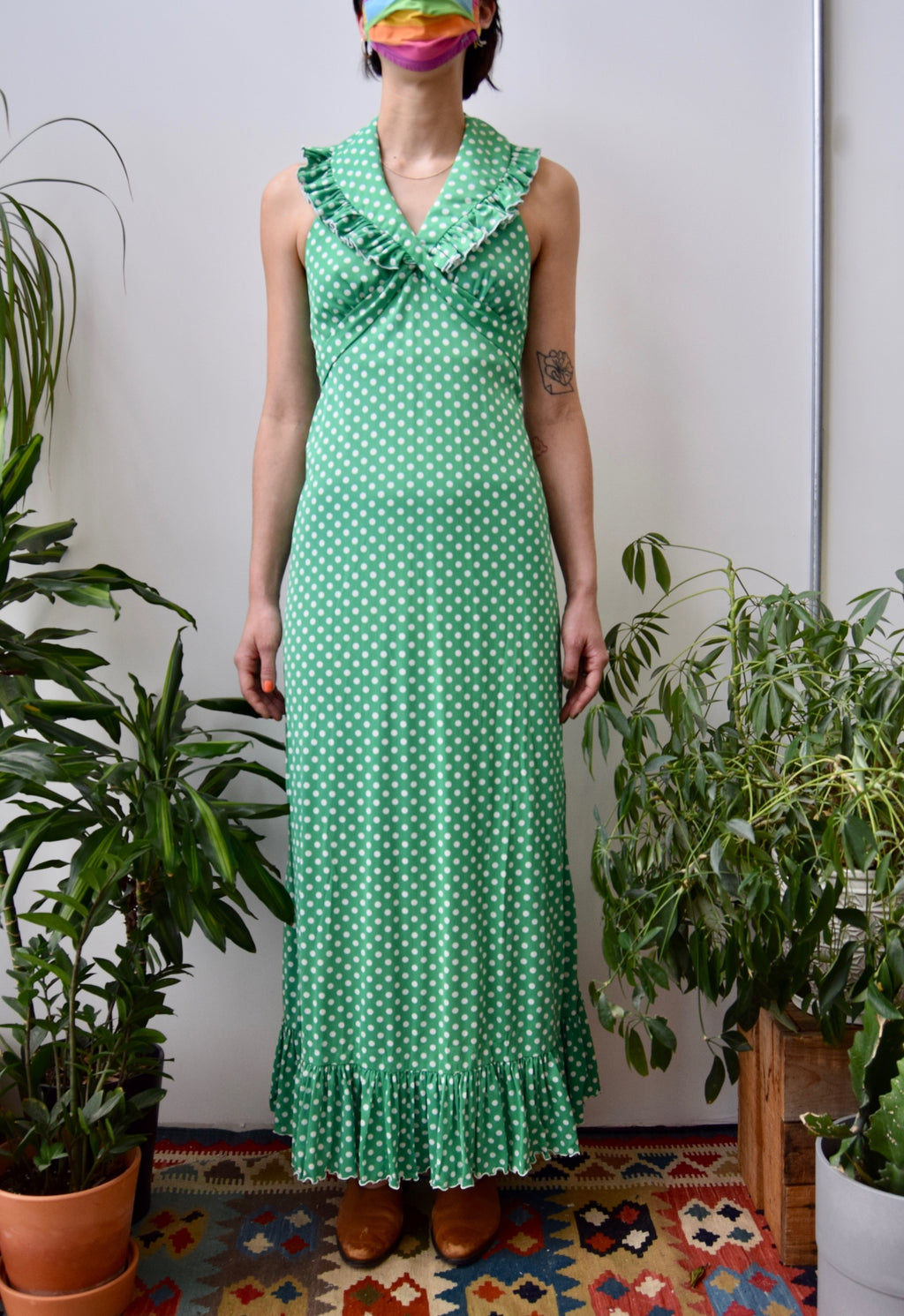Seventies Green and White Polka Dot Dress