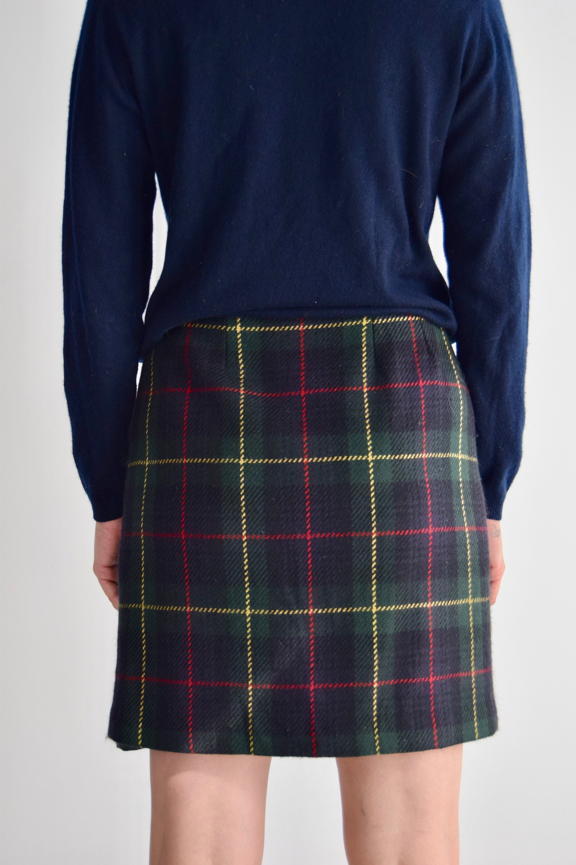 Vintage Talbots Green Yellow and Red Plaid Wool Skirt