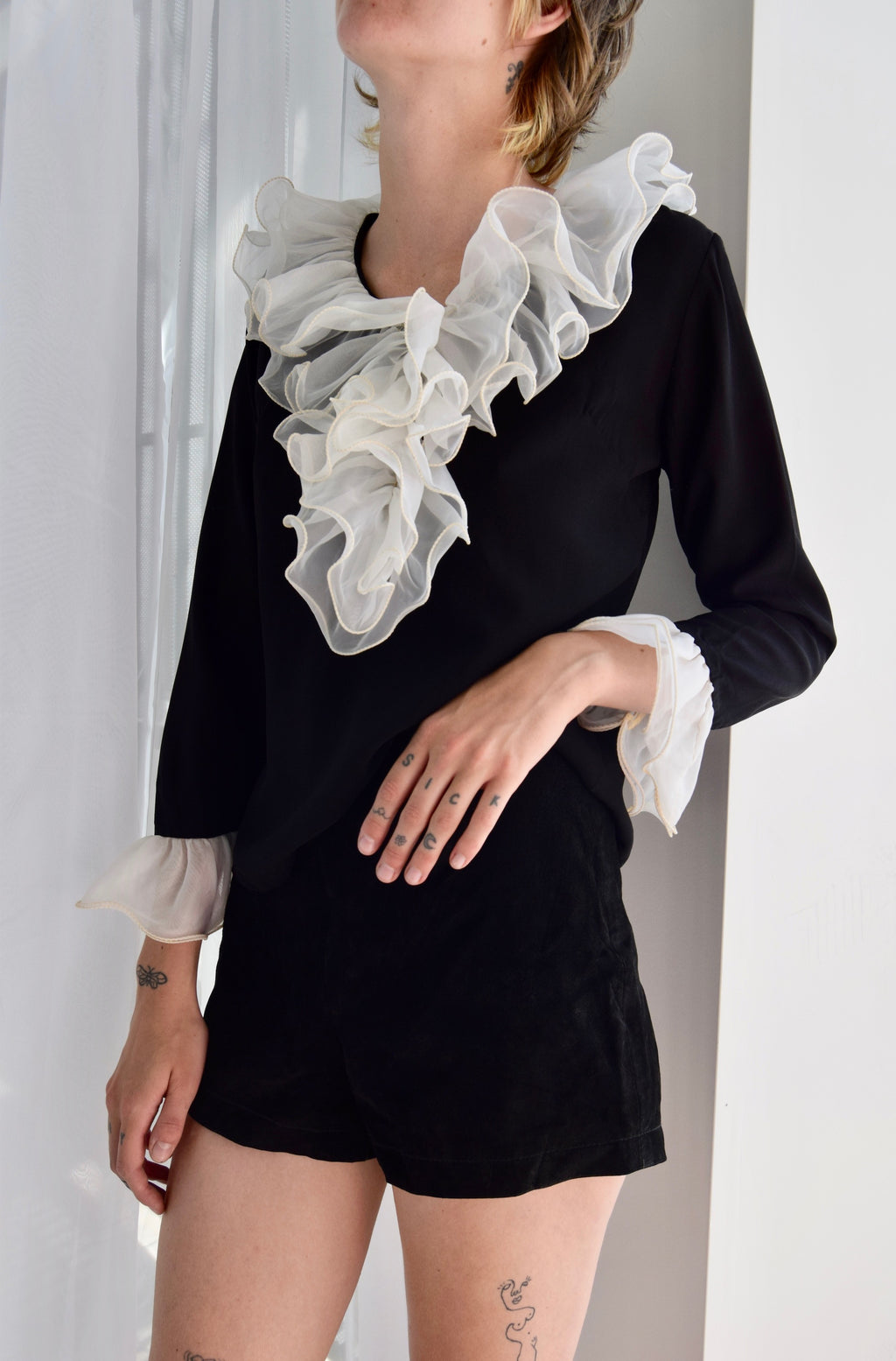 Sixties Black And White Ruffle Collar Top