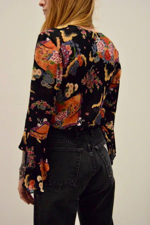 Floral Rayon Waterfall Sleeve Top