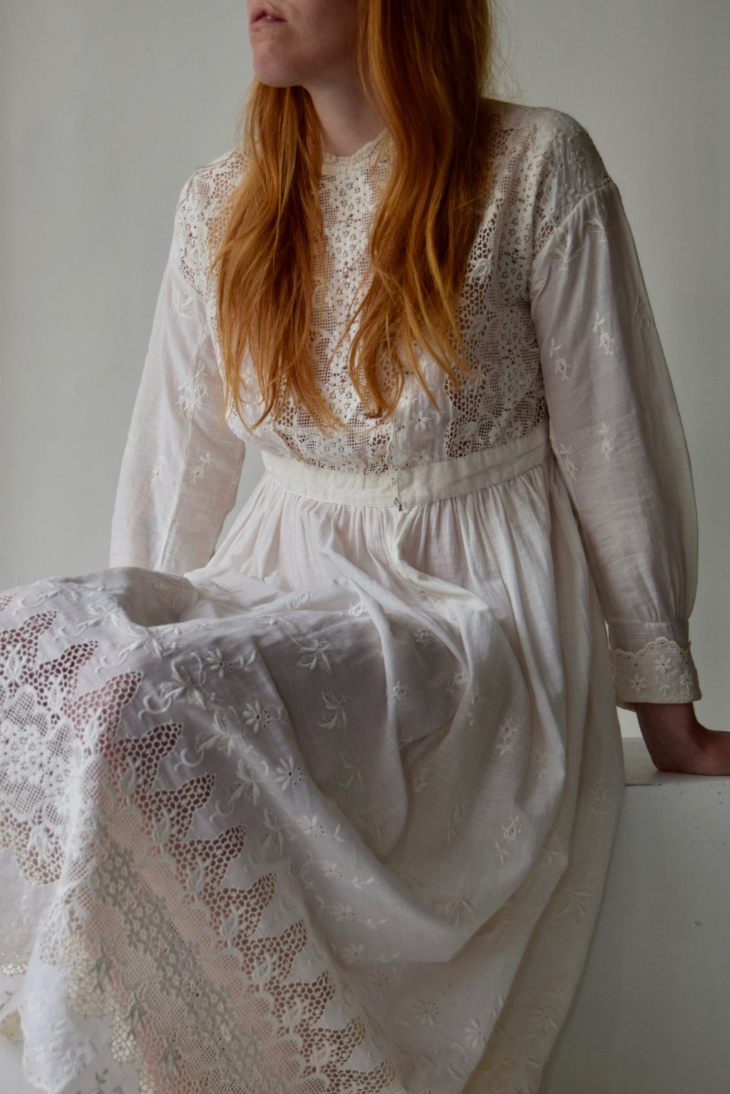 Antique Edwardian Natural White Net Lace Dress