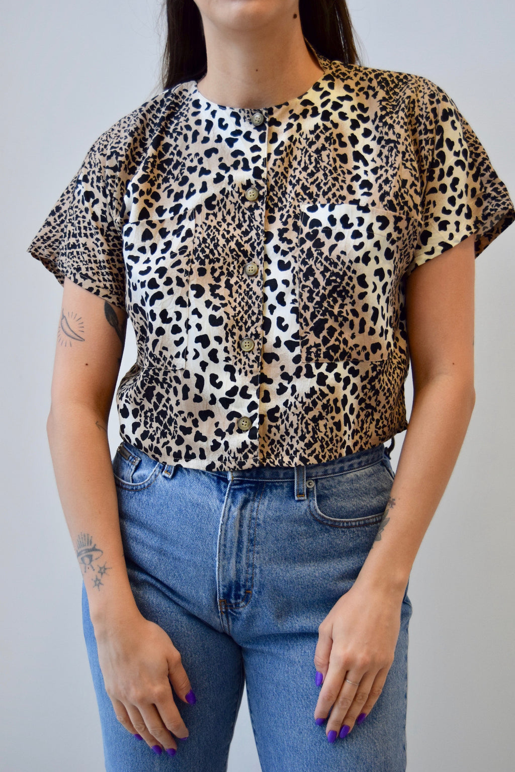 90's Rayon Leopard Print Crop Top FREE SHIPPING TO THE U.S.