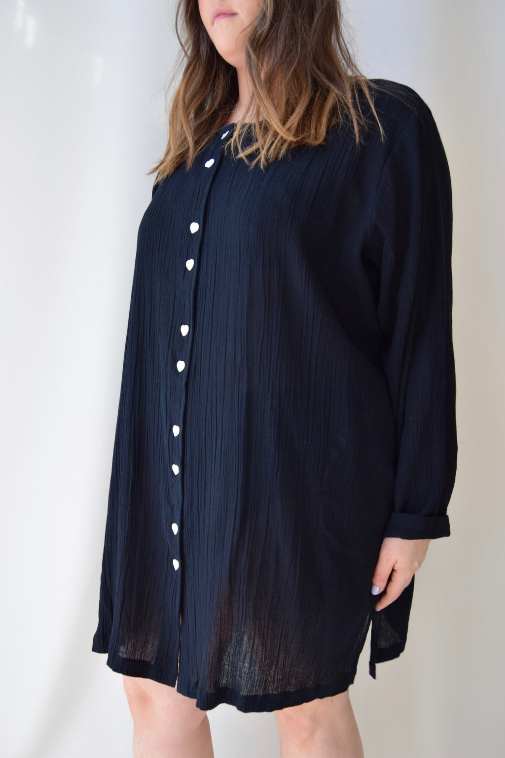 Black Indian Cotton Tunic Dress