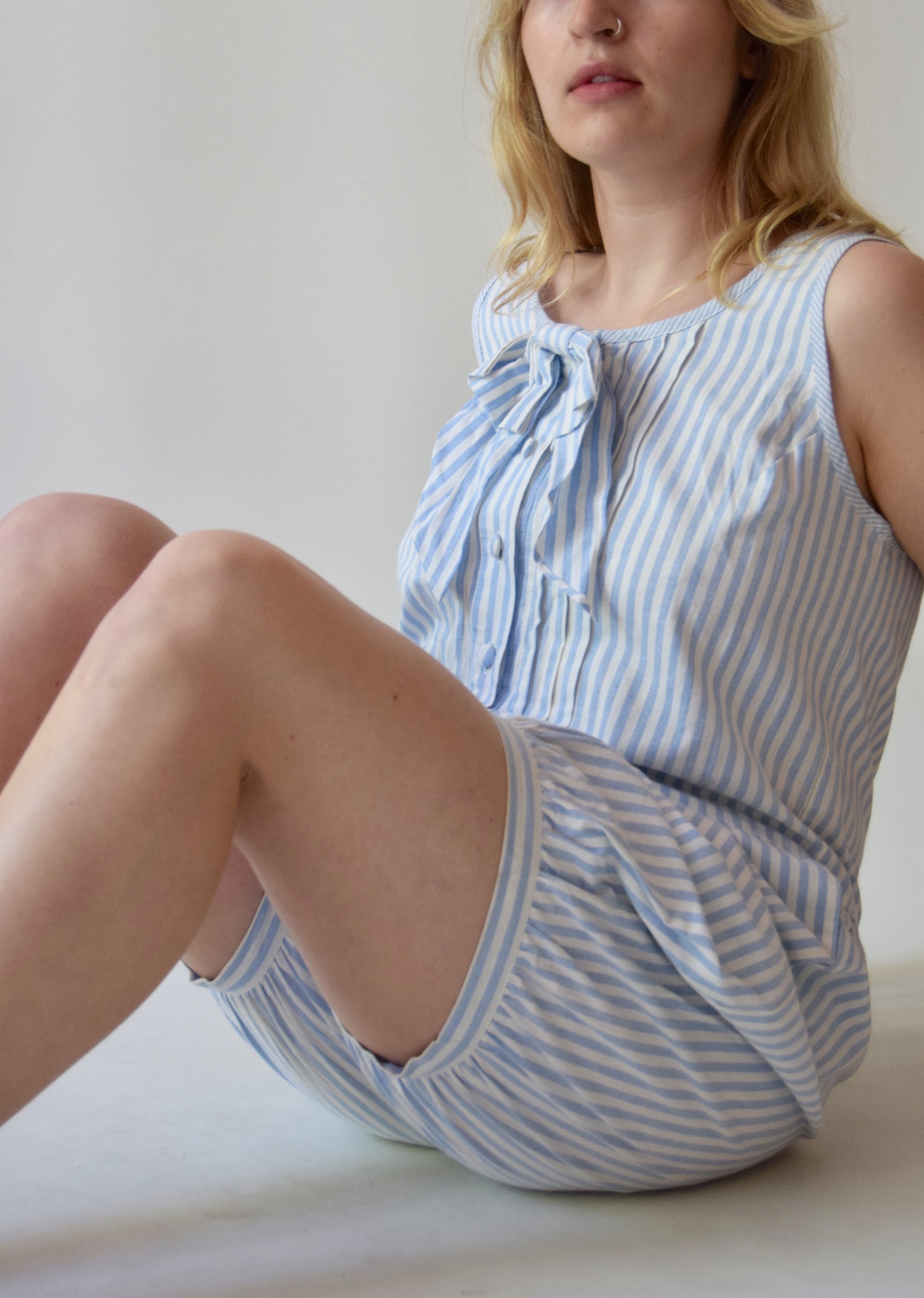 Vintage Blue and White Candy Stripe Romper FREE SHIPPING TO THE U.S.