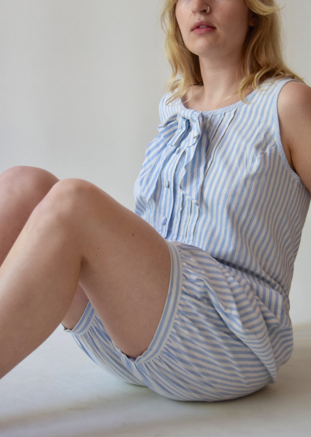 Vintage Blue and White Candy Stripe Romper