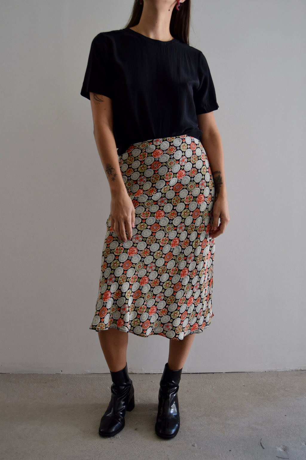Vintage Angie Floral Sand Dollar Printed Midi Skirt FREE SHIPPING TO THE U.S.