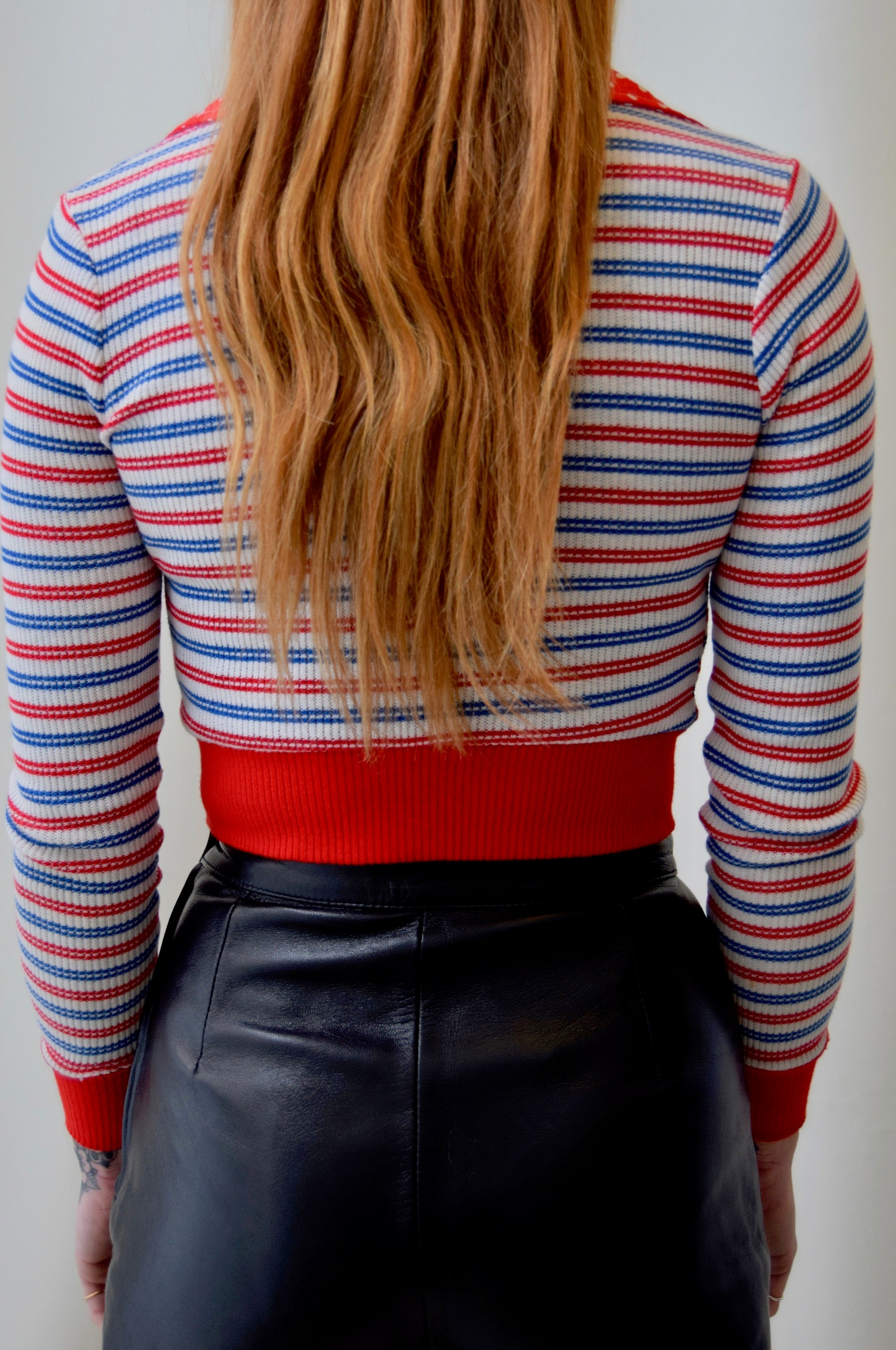 1970's Ribbed Red White & Blue Striped Crop Top
