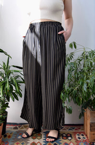 Black and Beige Striped Wide Leg Trousers