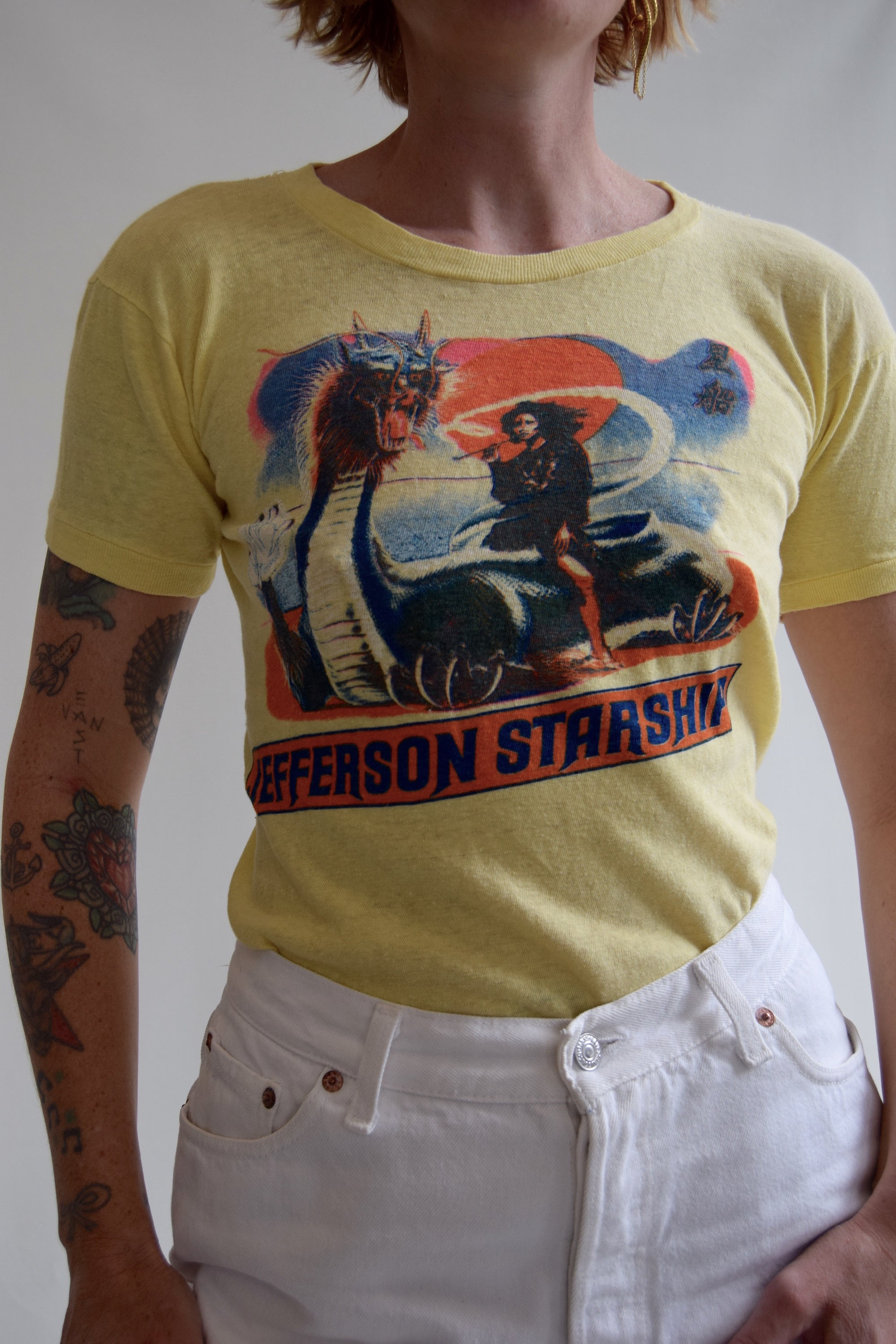"Vintage 1976 Jefferson Starship ""Spitfire"" T-Shirt FREE SHIPPING TO THE U.S."