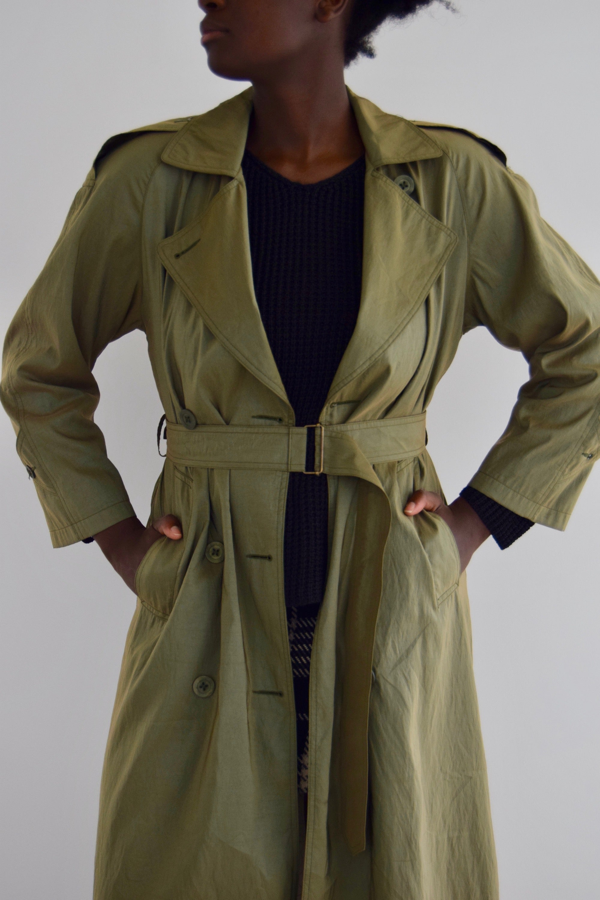 Jones New York Olive Oil Slick Trench Coat