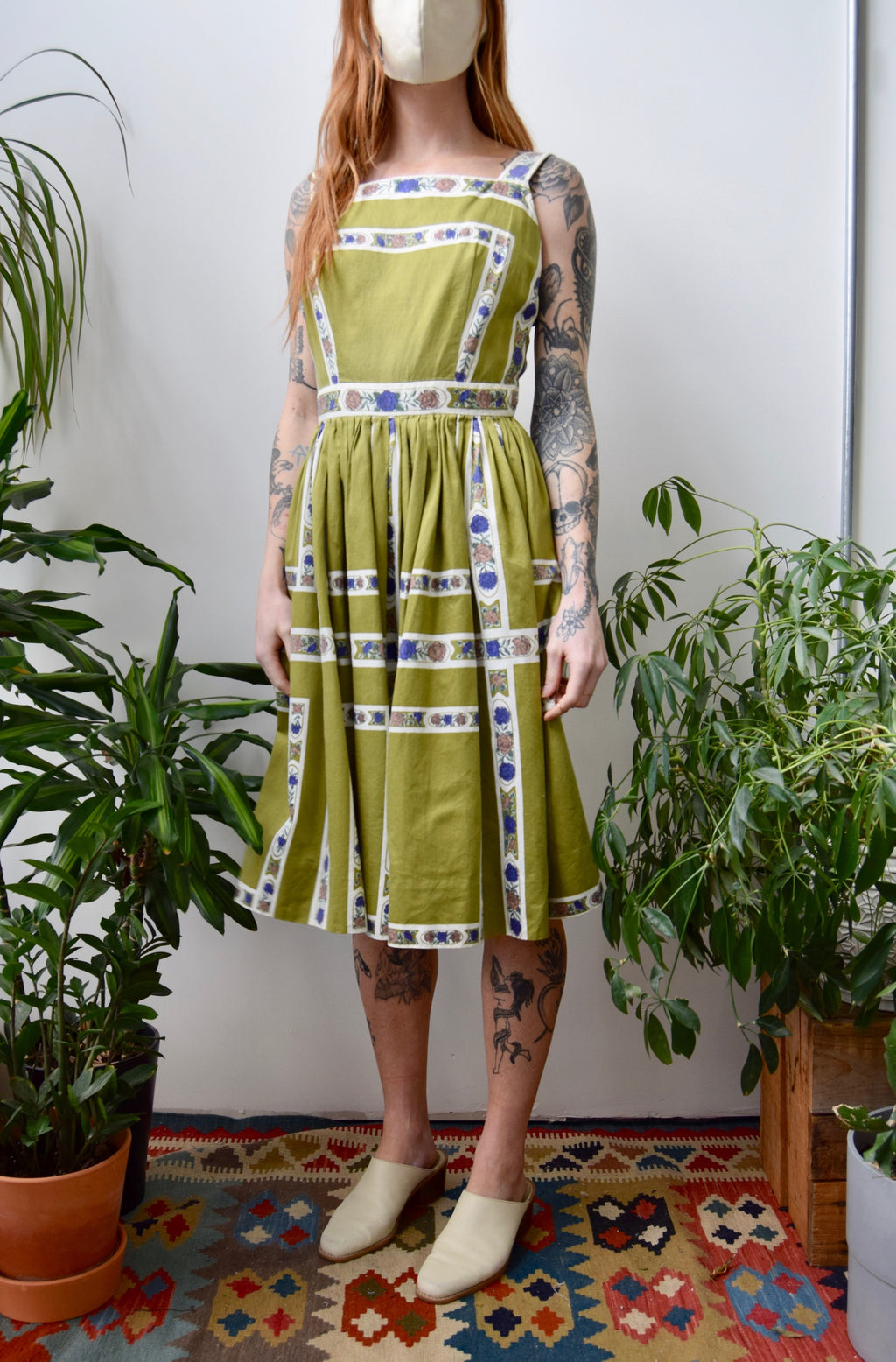 Sixties Pear Floral Grid Cotton Summer Dress