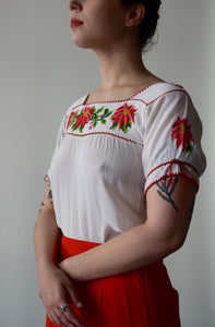 Vintage Peasant Blouse with Pink and Red Floral Embroidery FREE SHIPPING