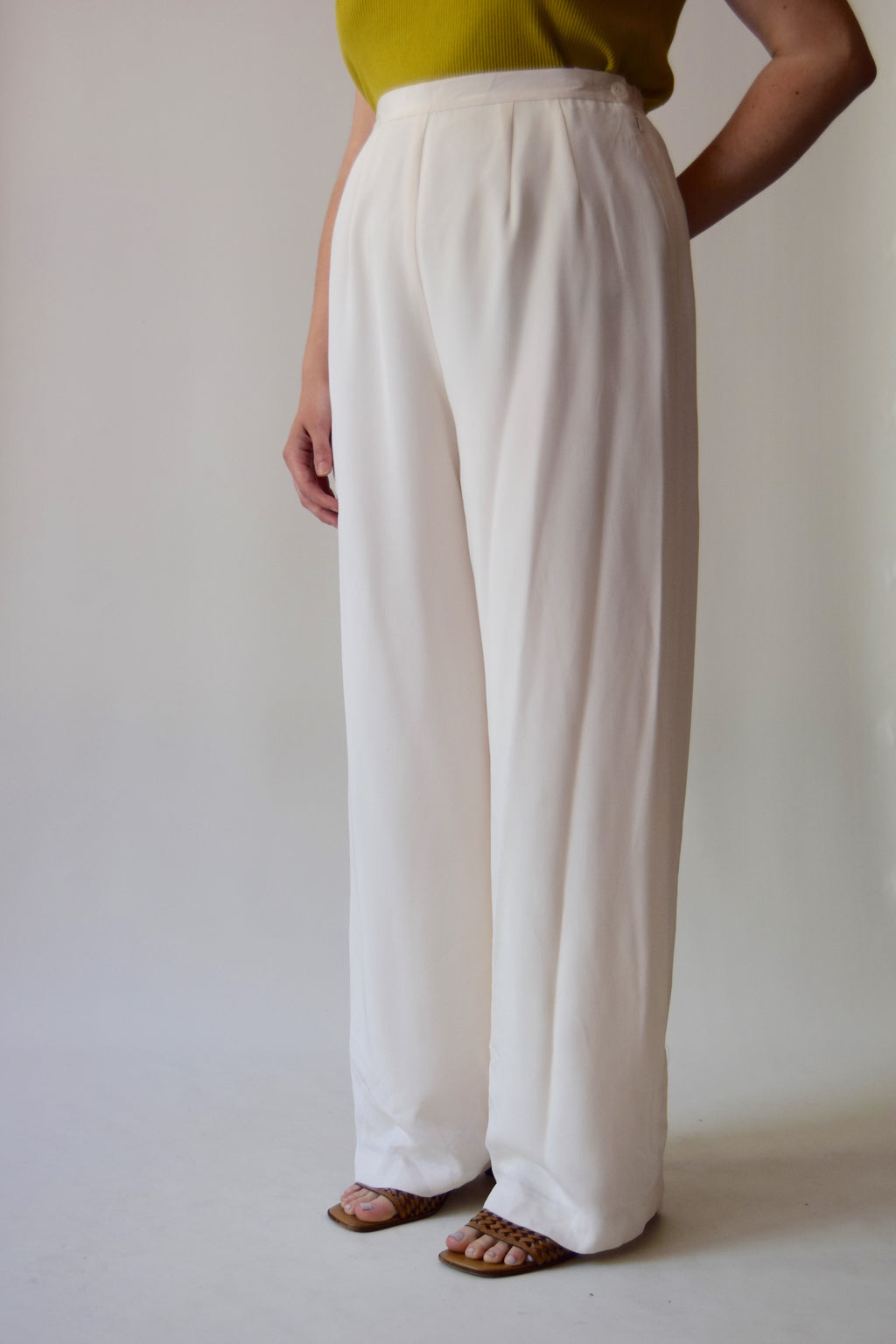 Saks Fifth Avenue Pearl Silk Trousers FREE SHIPPING TO THE U.S.