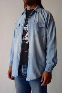 Vintage 1960's Lee Sanforized Chambray Men's Work Shirt FREE SHIPPING TO THE U.S.