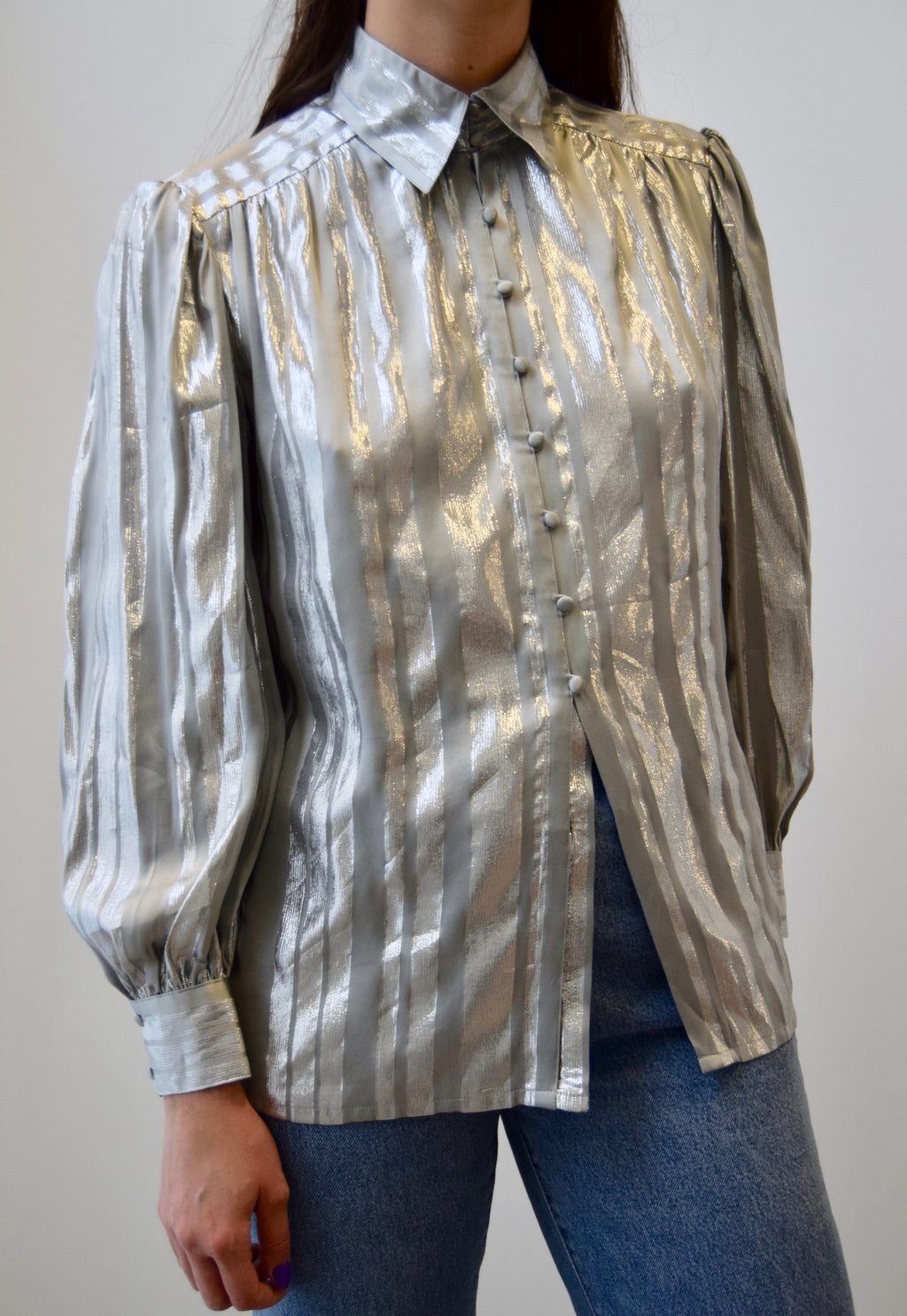 Metallic Silver Silk Top