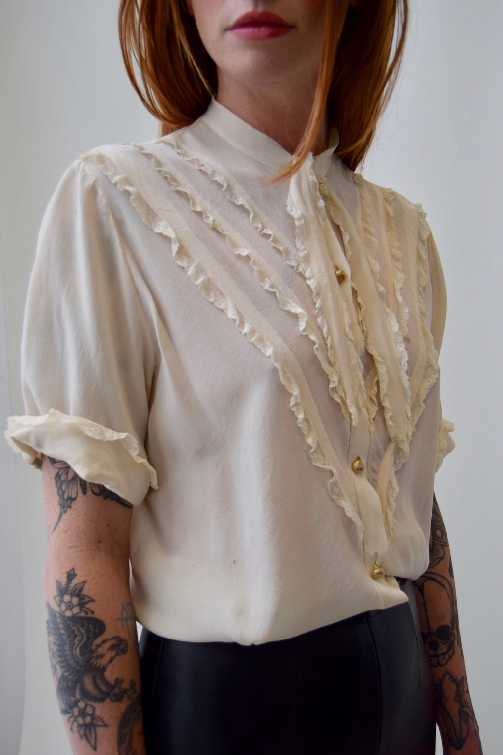 "1930's/1940's Ivory Silk Blouse by ""Yolande"" FREE SHIPPING TO THE U.S."