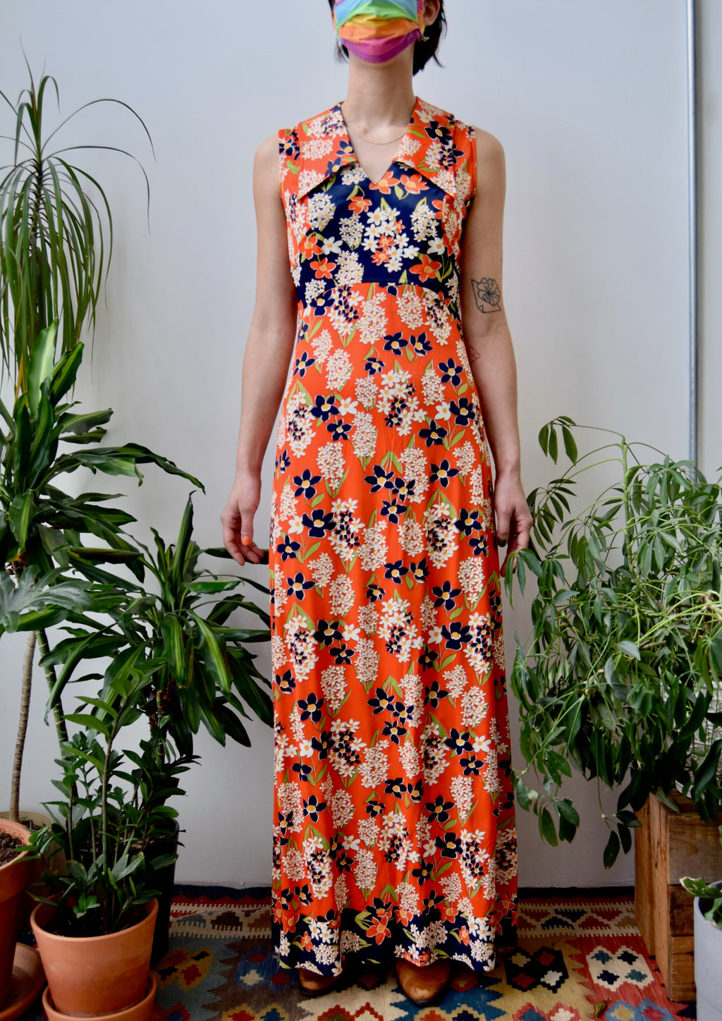 Seventies Orange Floral Maxi Dress