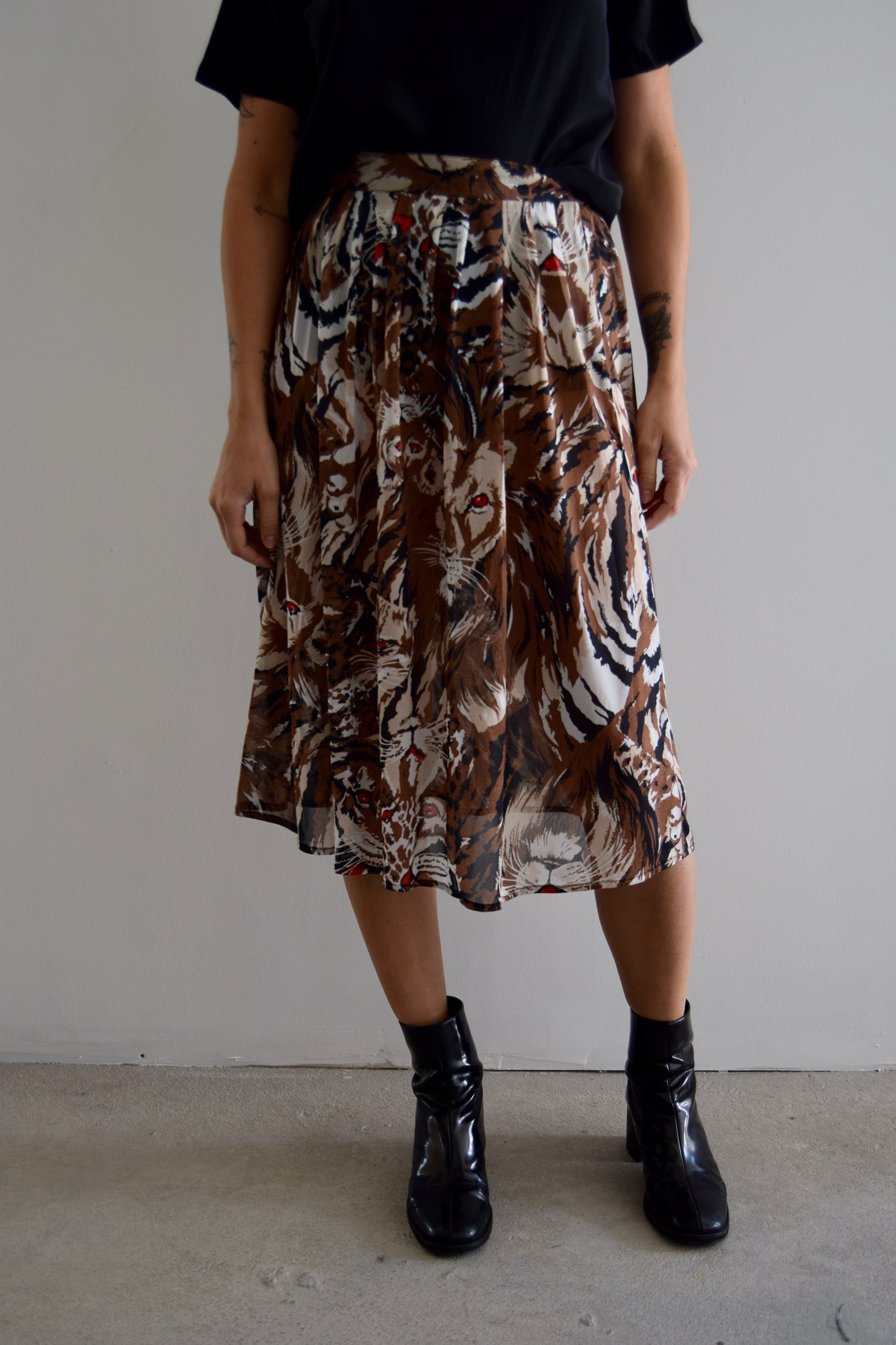 Vintage Fierce Feline Midi Skirt