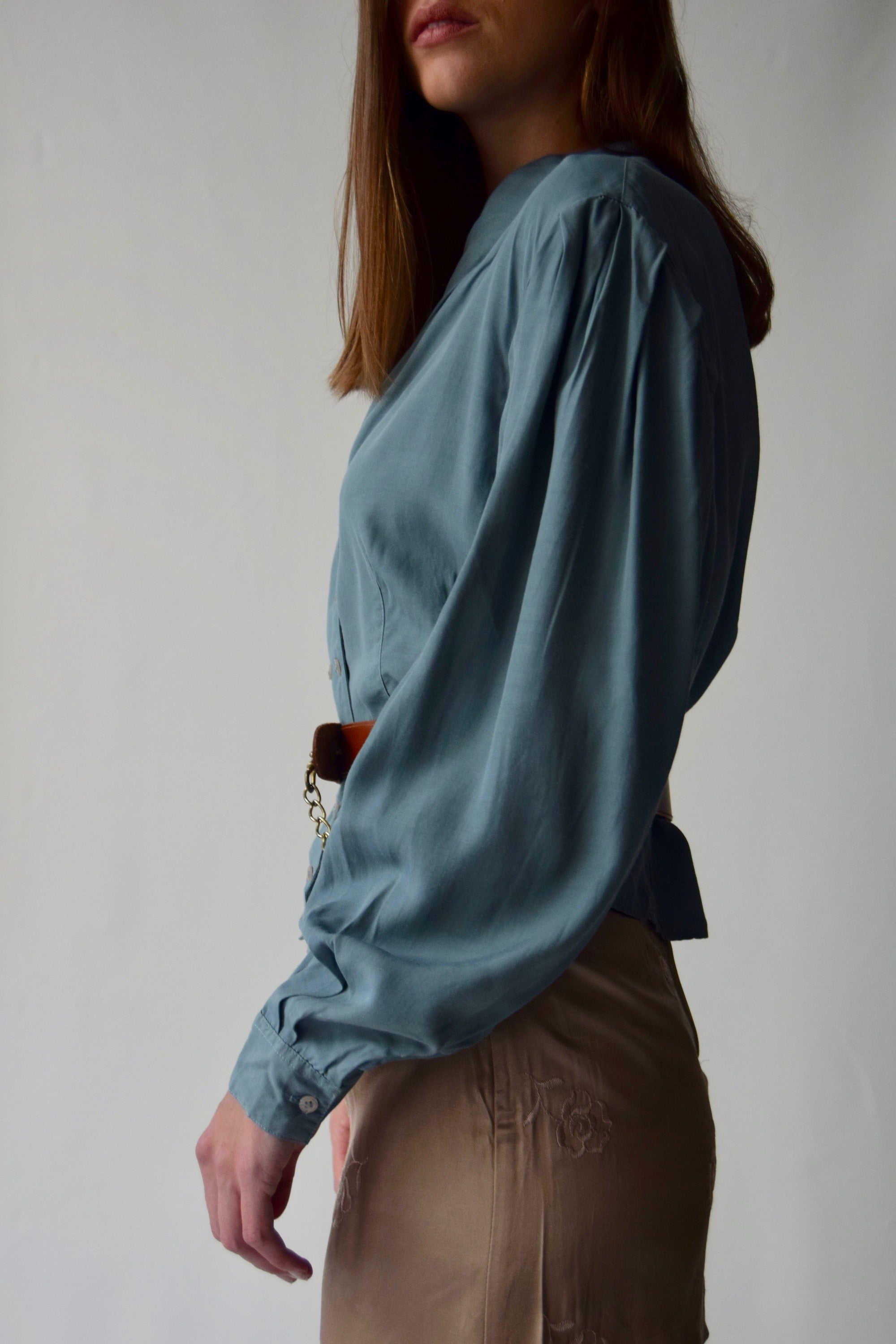 Teal Double Breasted Balloon Sleeve Blouse