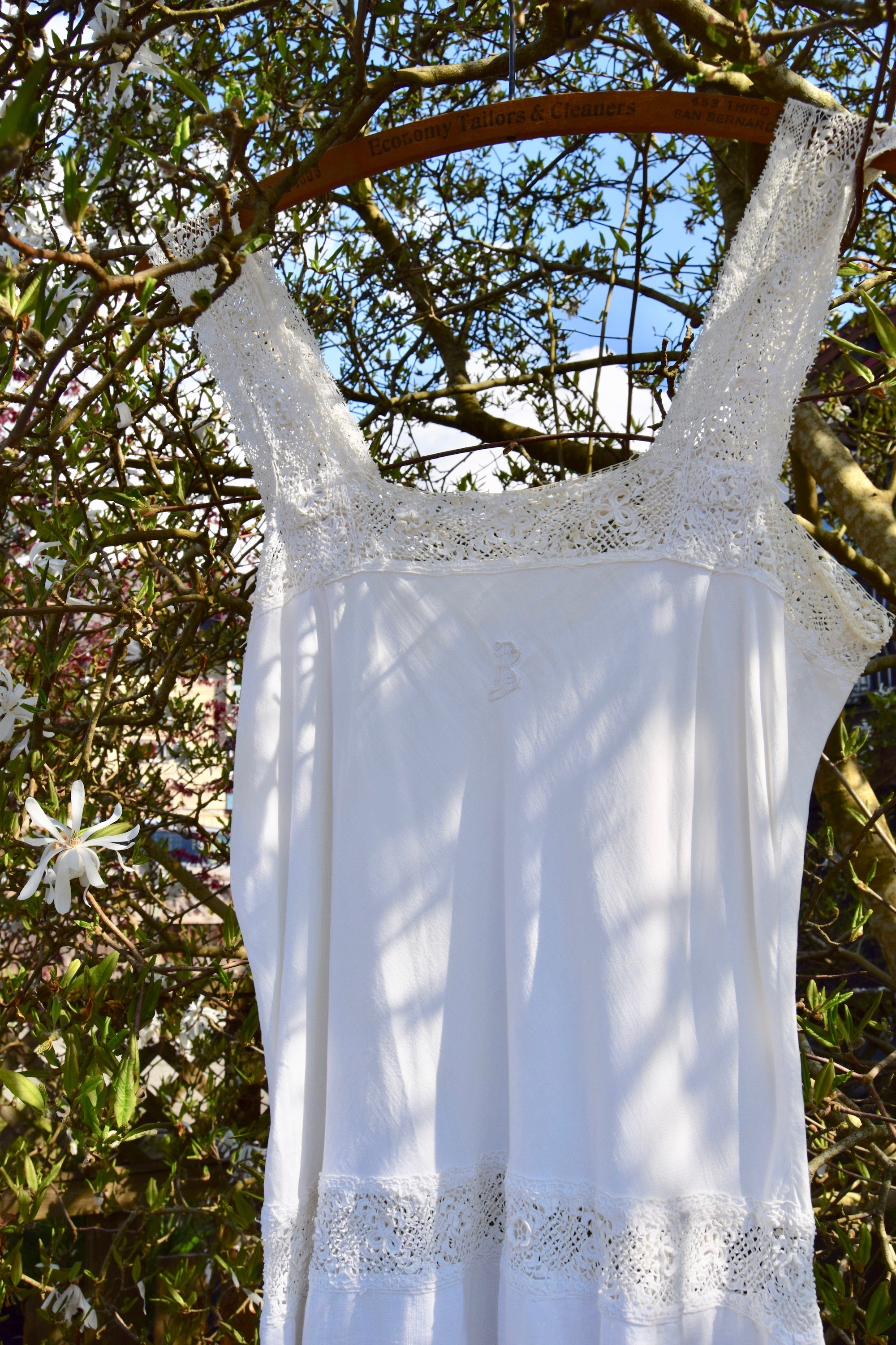 Antique Linen Blend Crochet Detailing Slip Dress