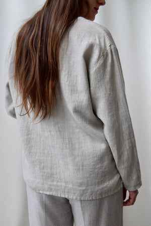 Stone Grey Linen Lounge Top