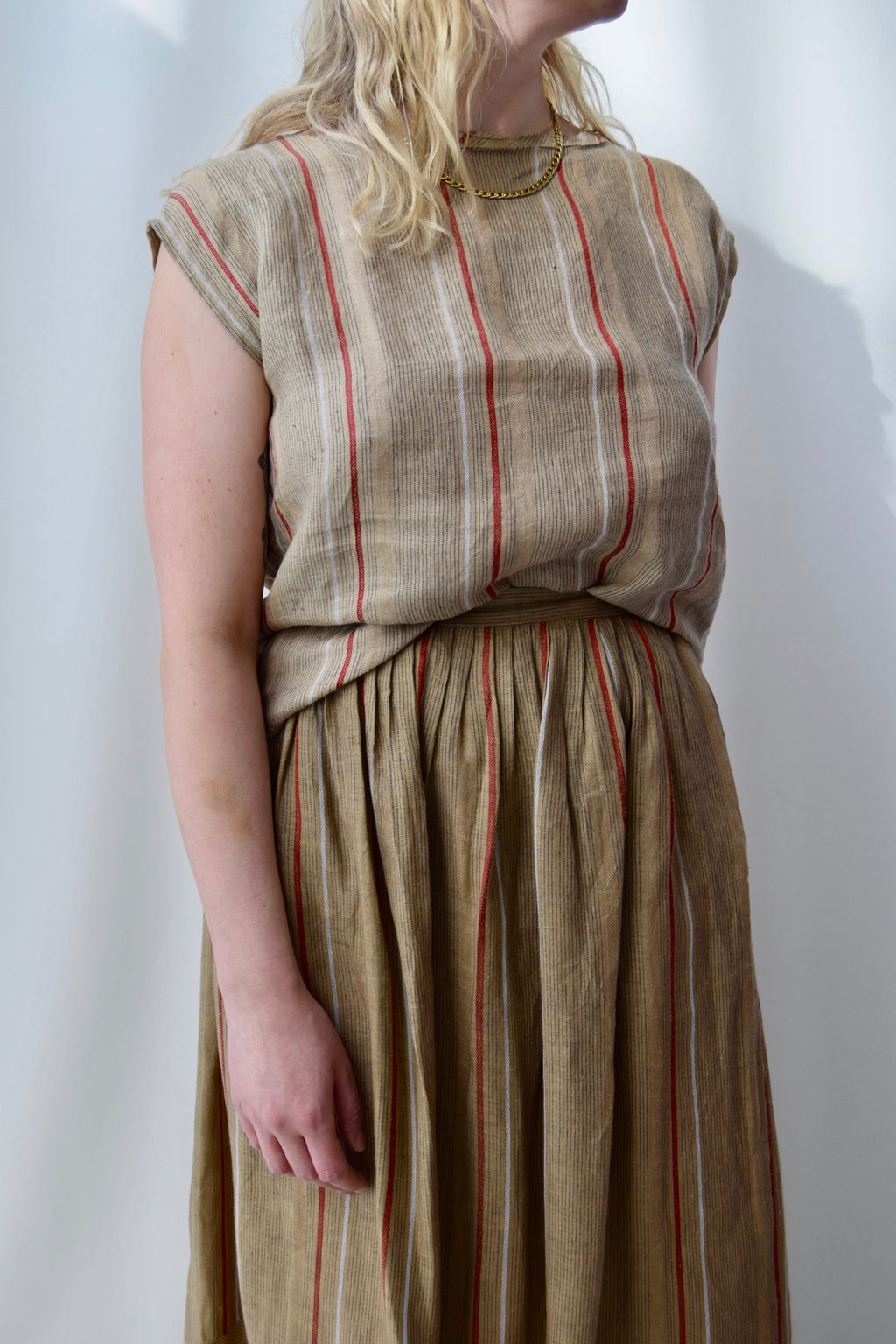 1980's Two Piece Linen Skirt Set FREE SHIPPING TO THE U.S.
