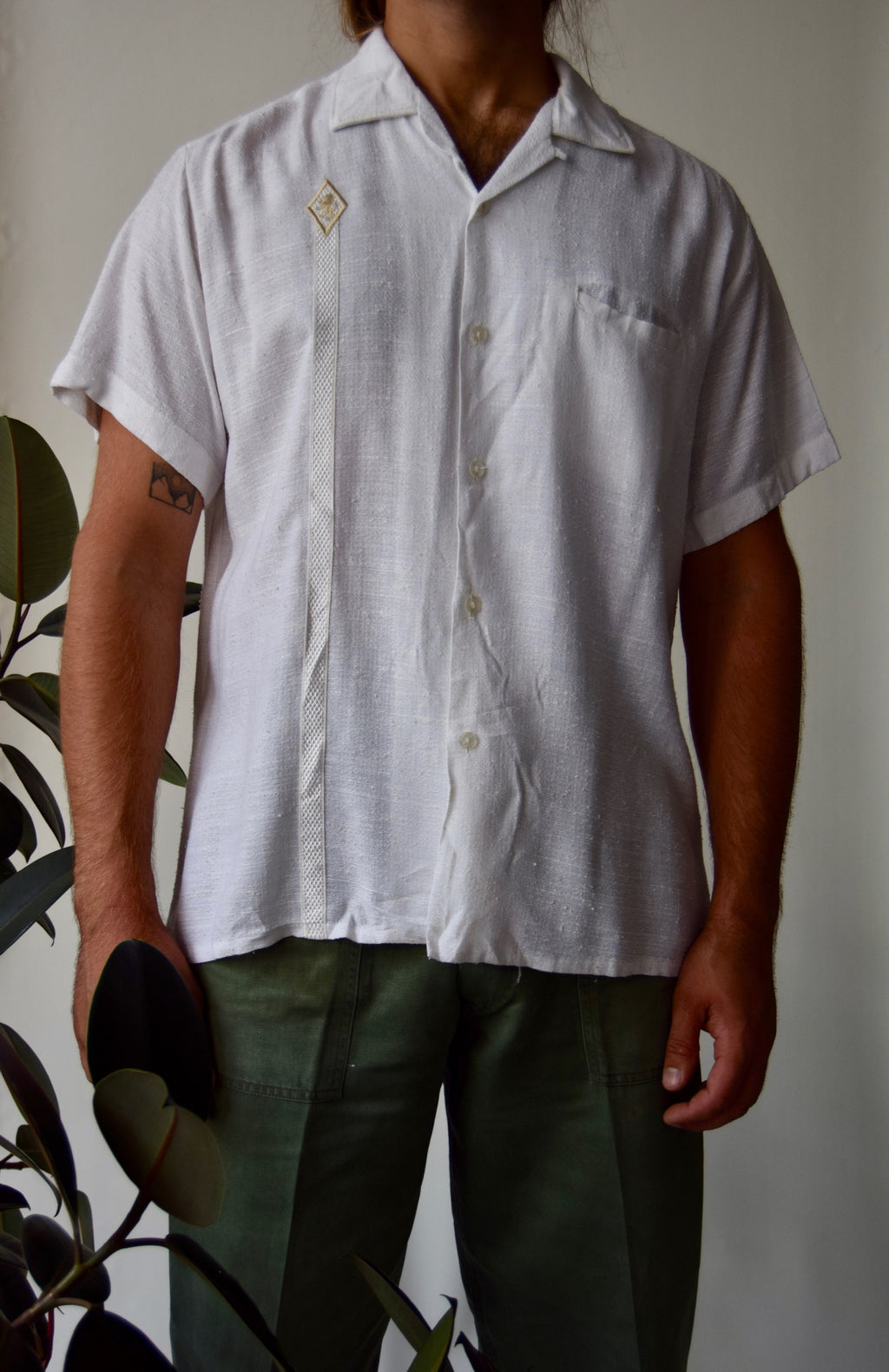 Vintage Da Vinci California Ivory Sport Shirt FREE SHIPPING TO THE U.S.