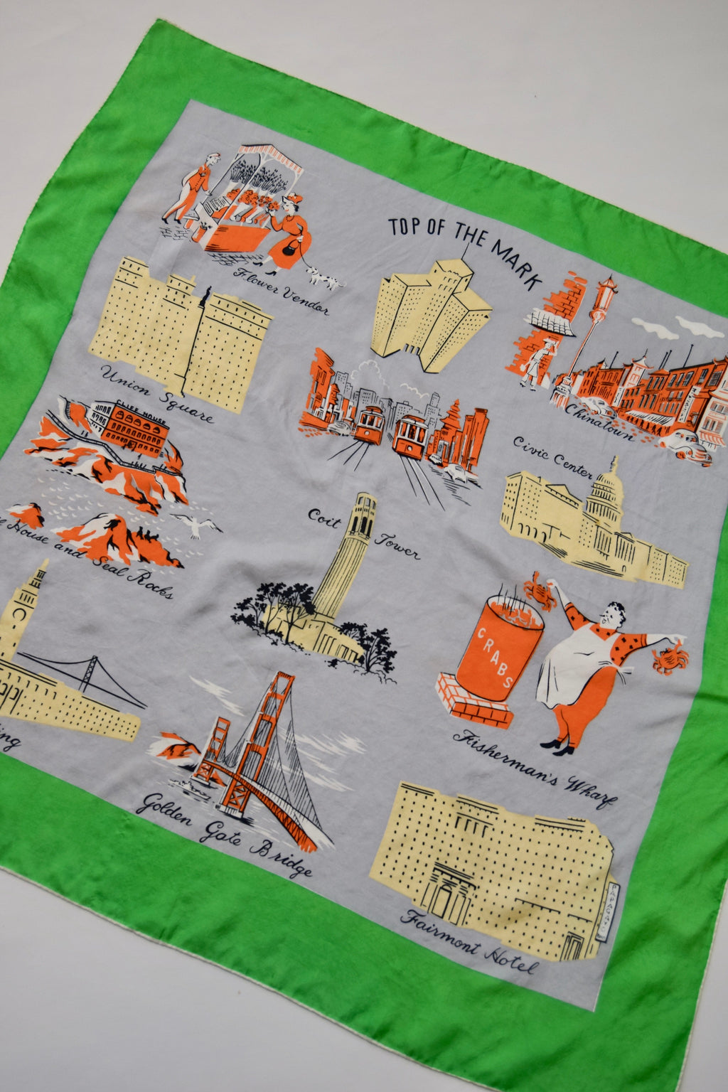 Vintage Silk San Francisco Illustrated Scarf