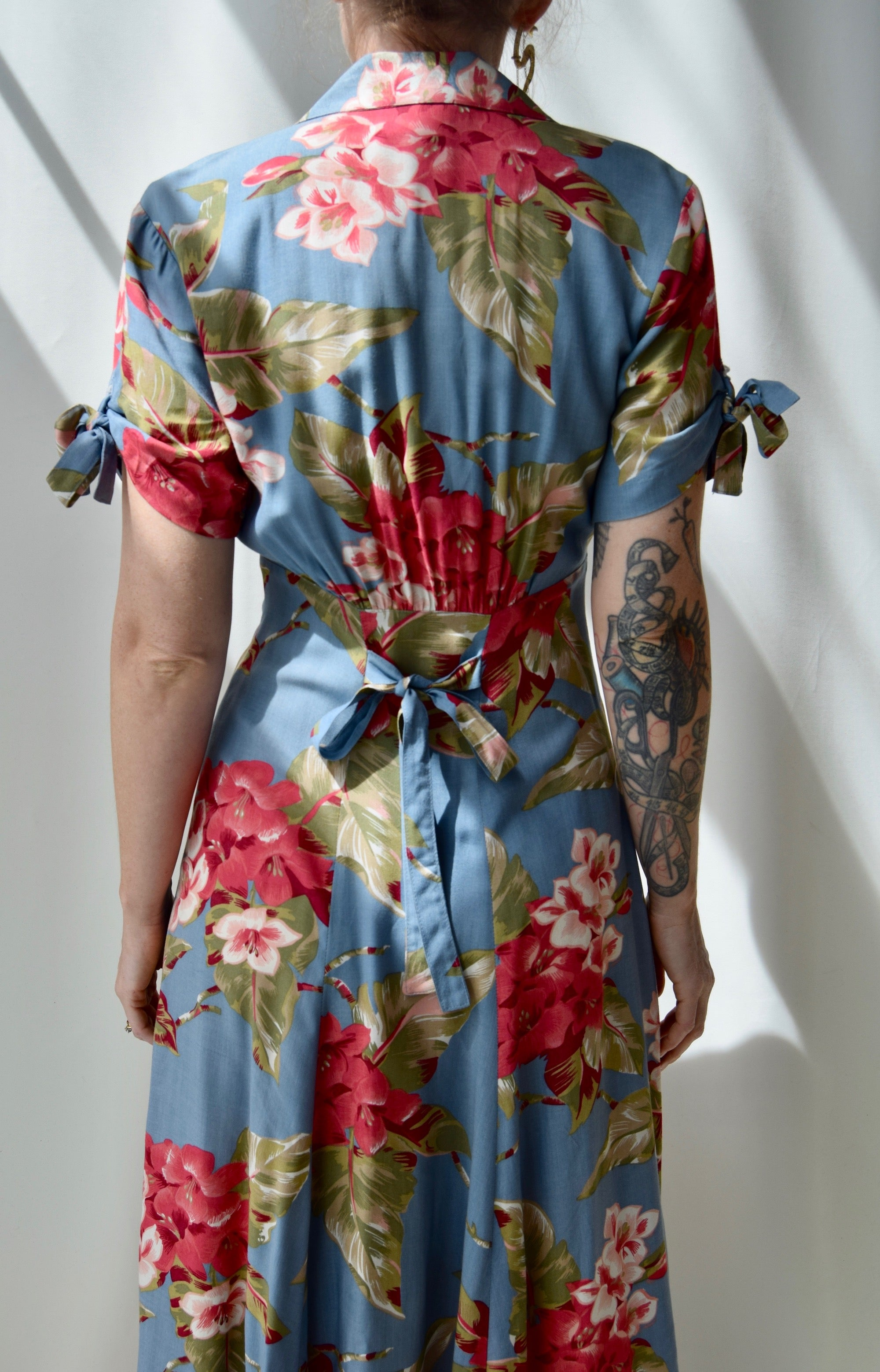 90's Muted Teal Tropical Floral Dress