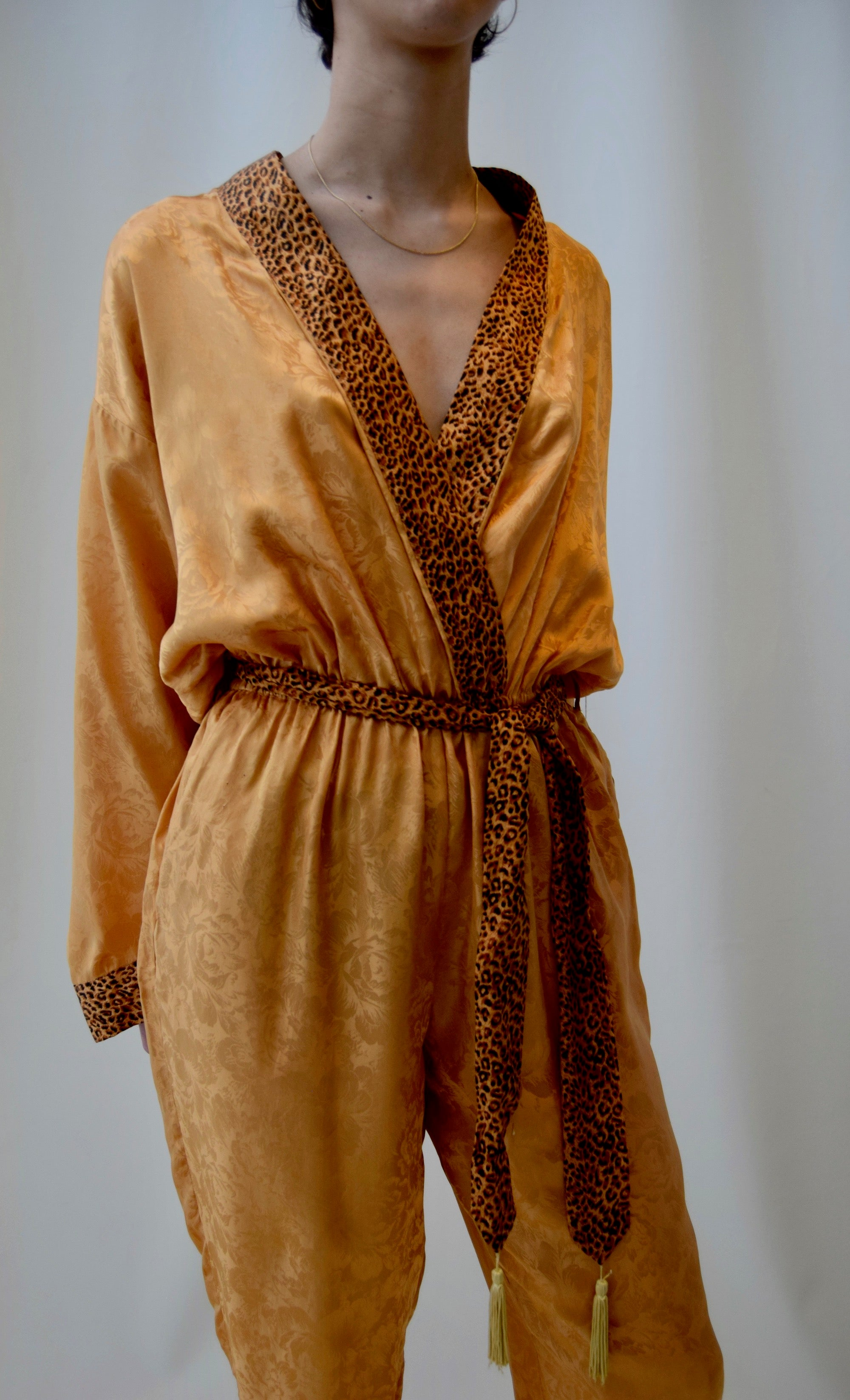 Gold Leopard Silk Robe Tie Jumpsuit FREE SHIPPING TO THE U.S.