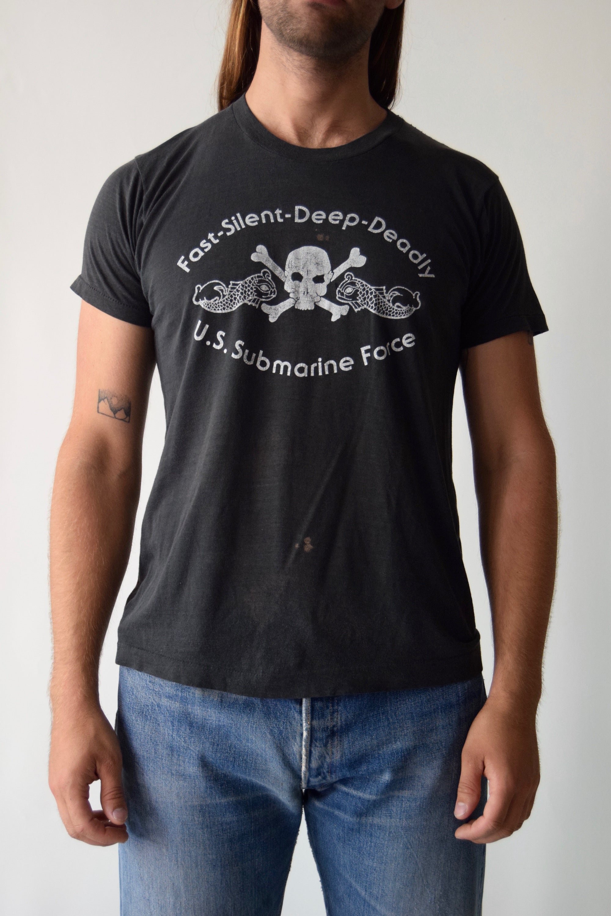 Vintage U.S. Submarine Force Skull & Bones T-Shirt FREE SHIPPING