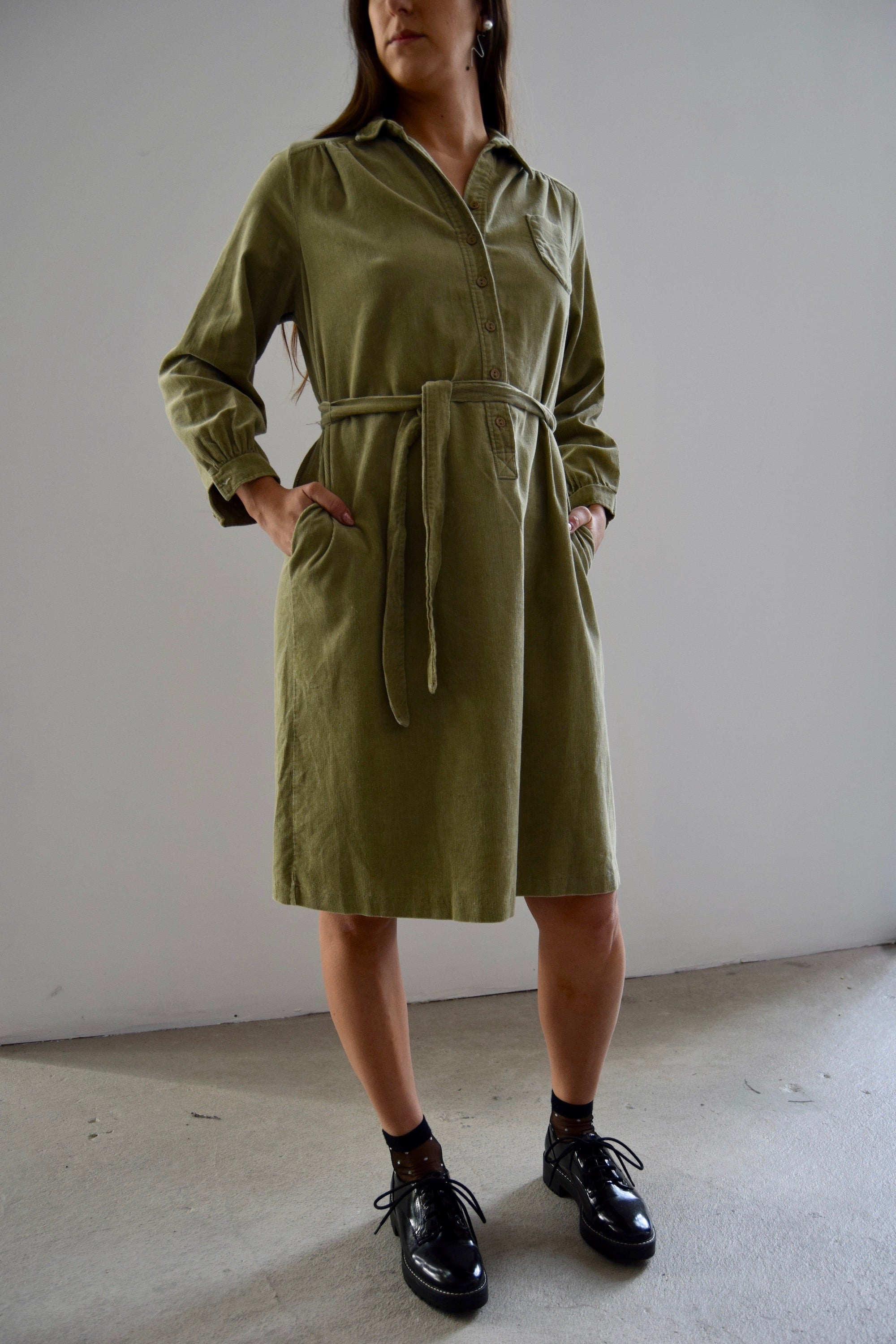 Vintage Corduroy Shirt Dress